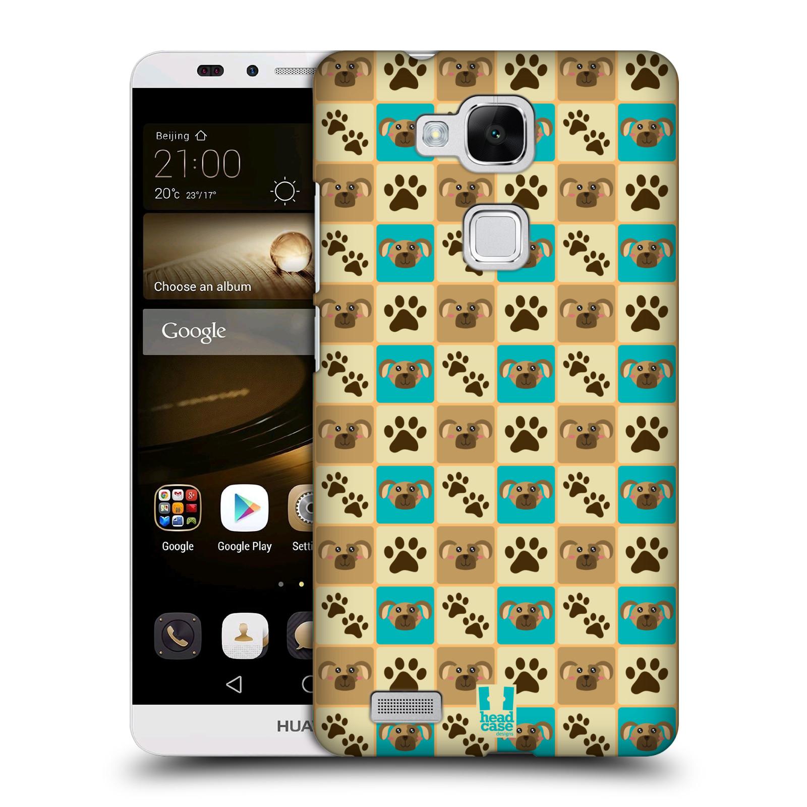 HEAD CASE plastový obal na mobil Huawei Mate 7 vzor Zvířecí razítka PSÍ TLAPKA