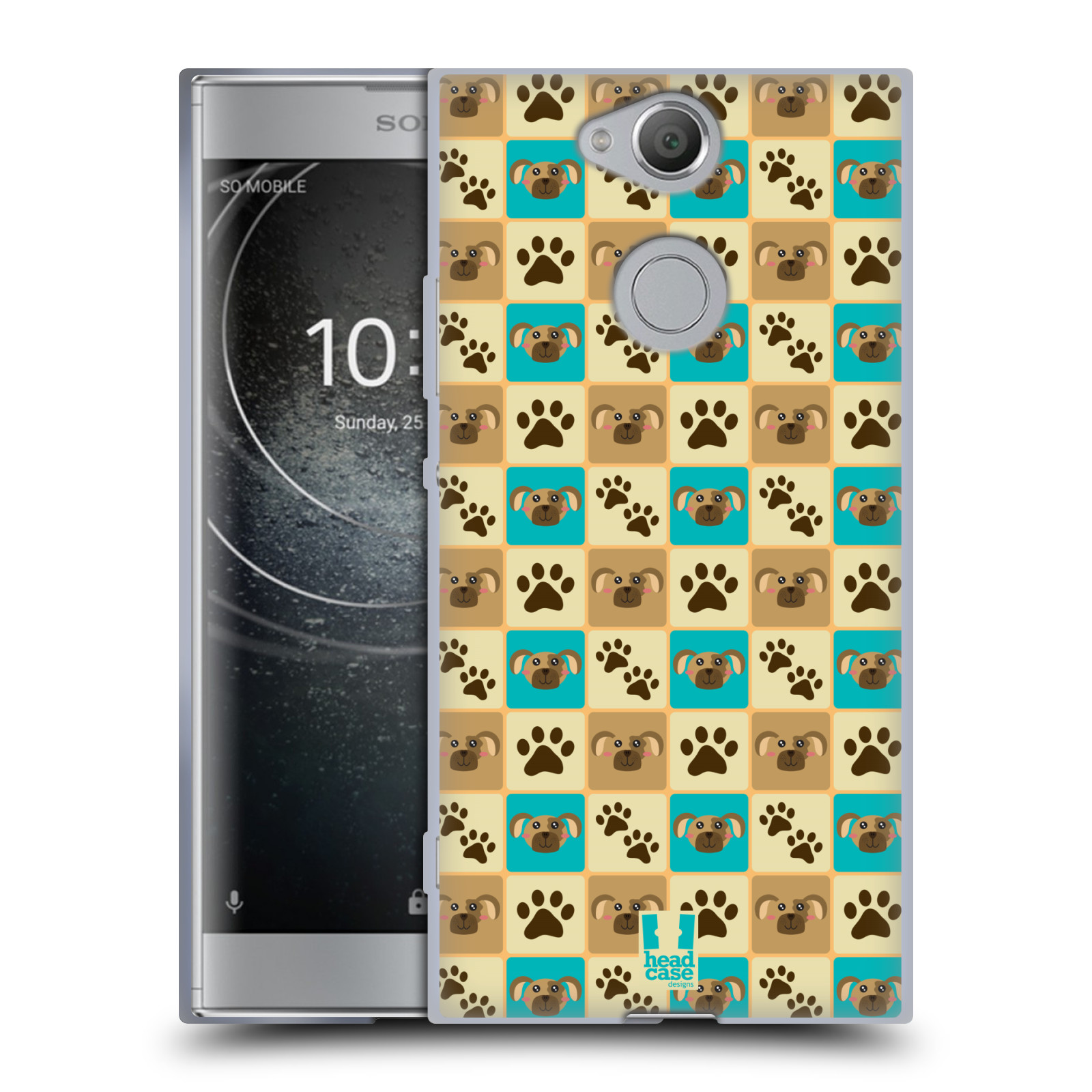 Pouzdro na mobil Sony Xperia XA2 (DUAL SIM, SINGLE SIM) vzor Zvířecí razítka PSÍ TLAPKA