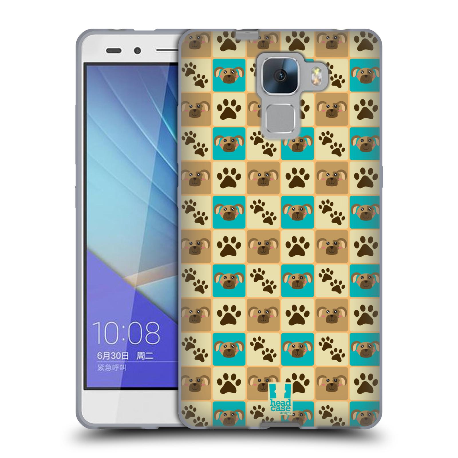 HEAD CASE silikonový obal na mobil HUAWEI HONOR 7 vzor Zvířecí razítka PSÍ TLAPKA