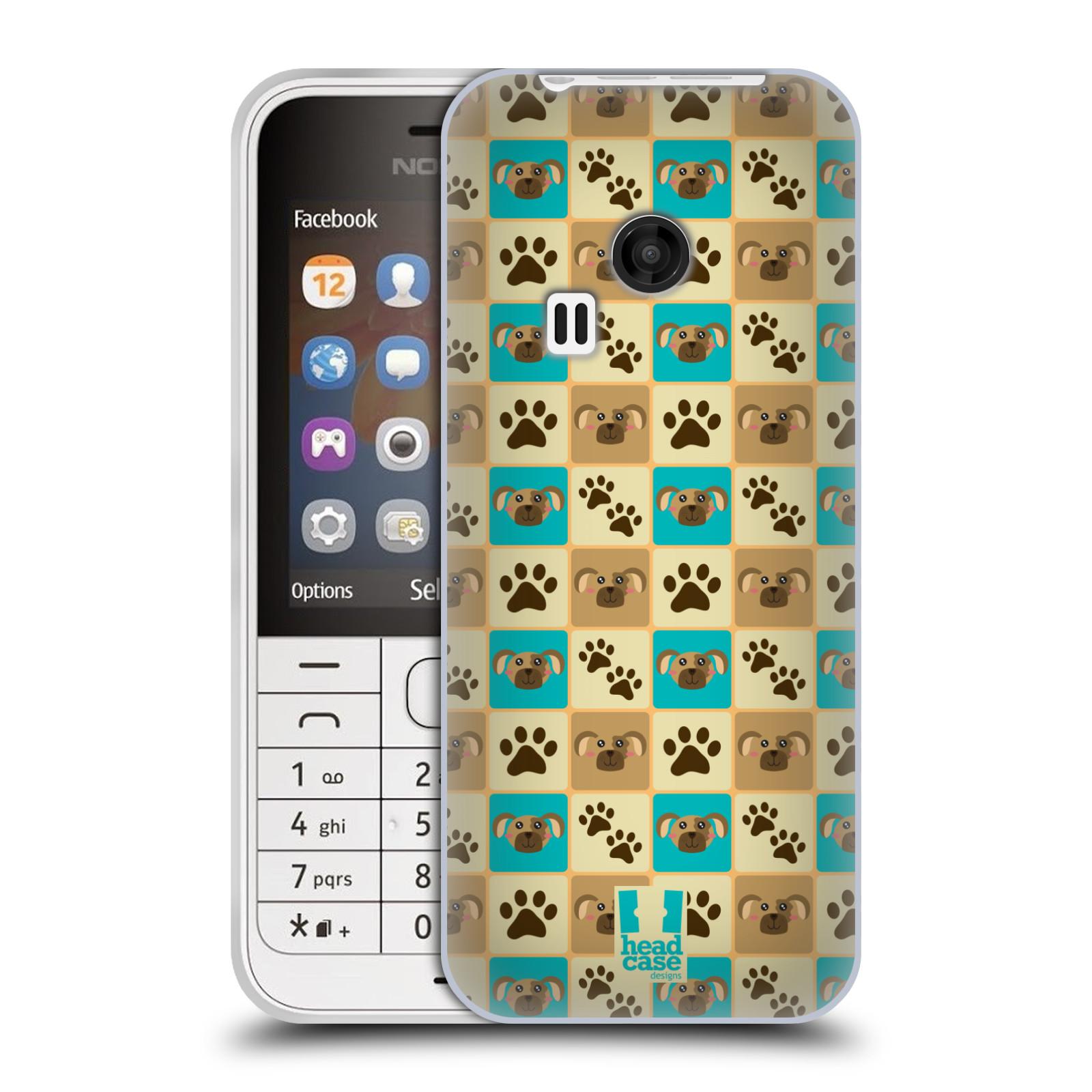 HEAD CASE silikonový obal na mobil NOKIA 220 / NOKIA 220 DUAL SIM vzor Zvířecí razítka PSÍ TLAPKA