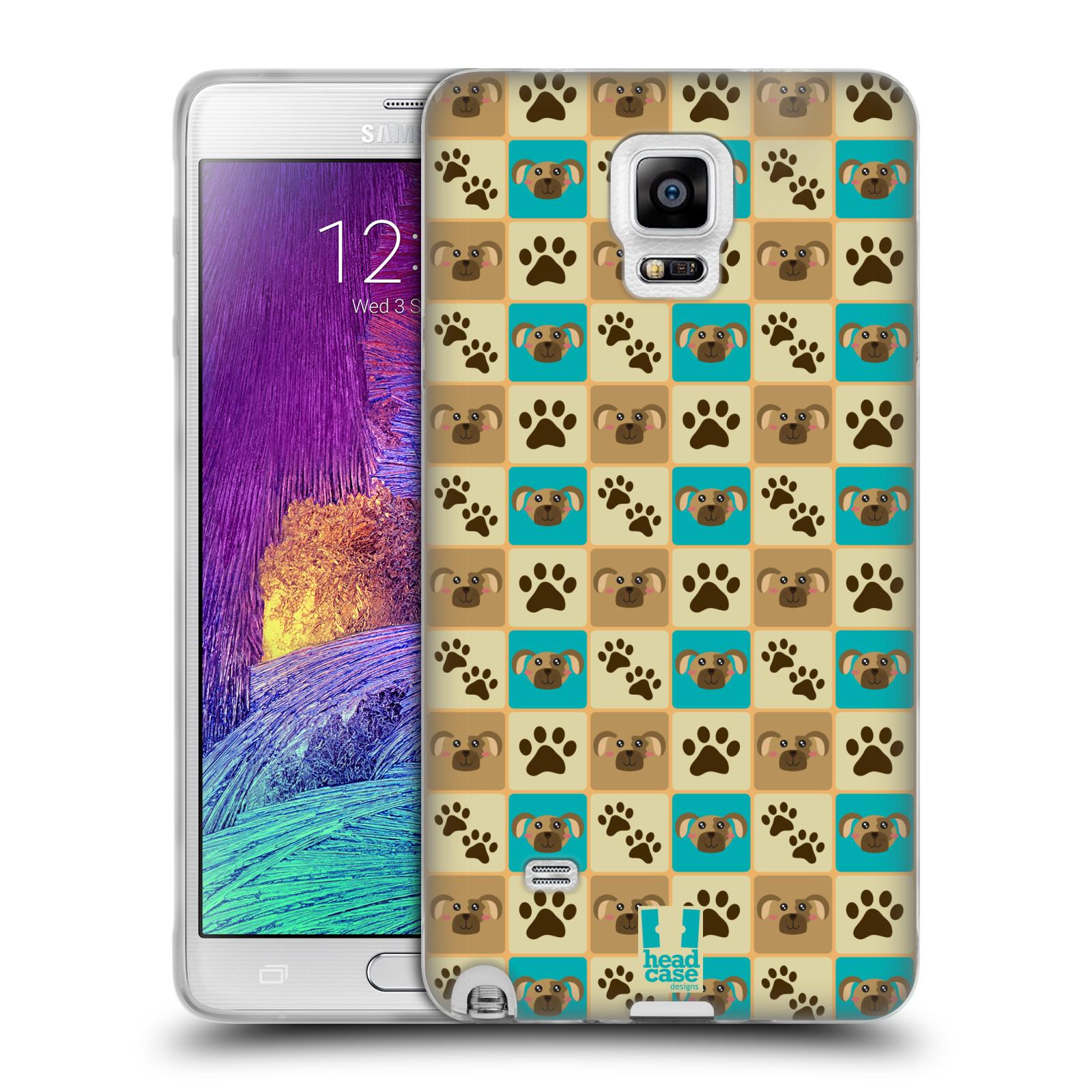 HEAD CASE silikonový obal na mobil Samsung Galaxy Note 4 (N910) vzor Zvířecí razítka PSÍ TLAPKA