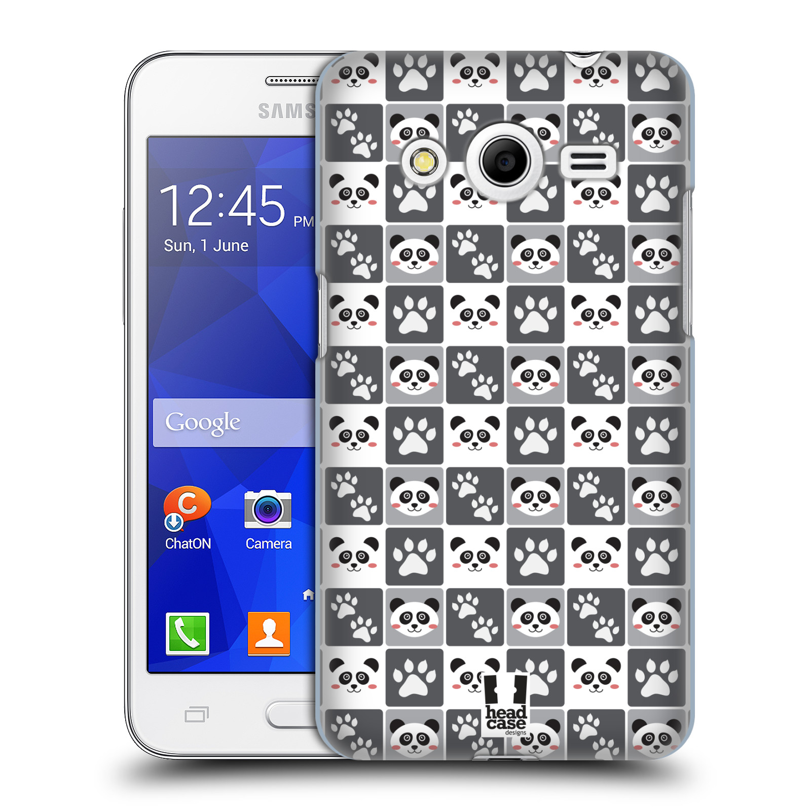 HEAD CASE plastový obal na mobil SAMSUNG GALAXY Core 2 (G355H) vzor Zvířecí razítka MEDVÍDEK PANDA