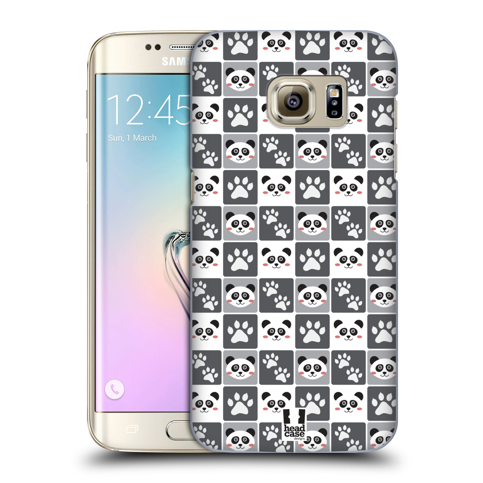 HEAD CASE plastový obal na mobil SAMSUNG GALAXY S7 EDGE vzor Zvířecí razítka MEDVÍDEK PANDA
