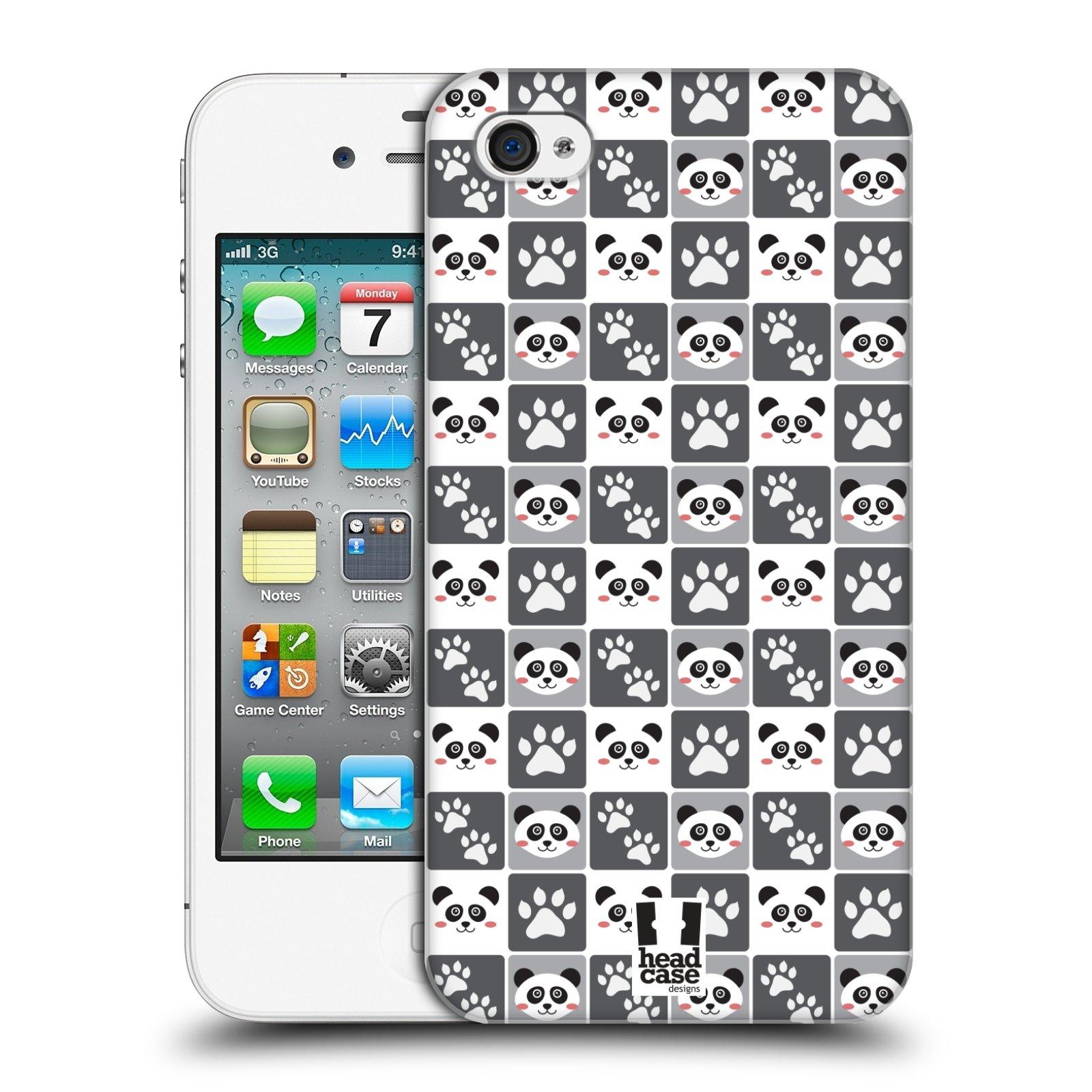 HEAD CASE plastový obal na mobil Apple Iphone 4/4S vzor Zvířecí razítka MEDVÍDEK PANDA