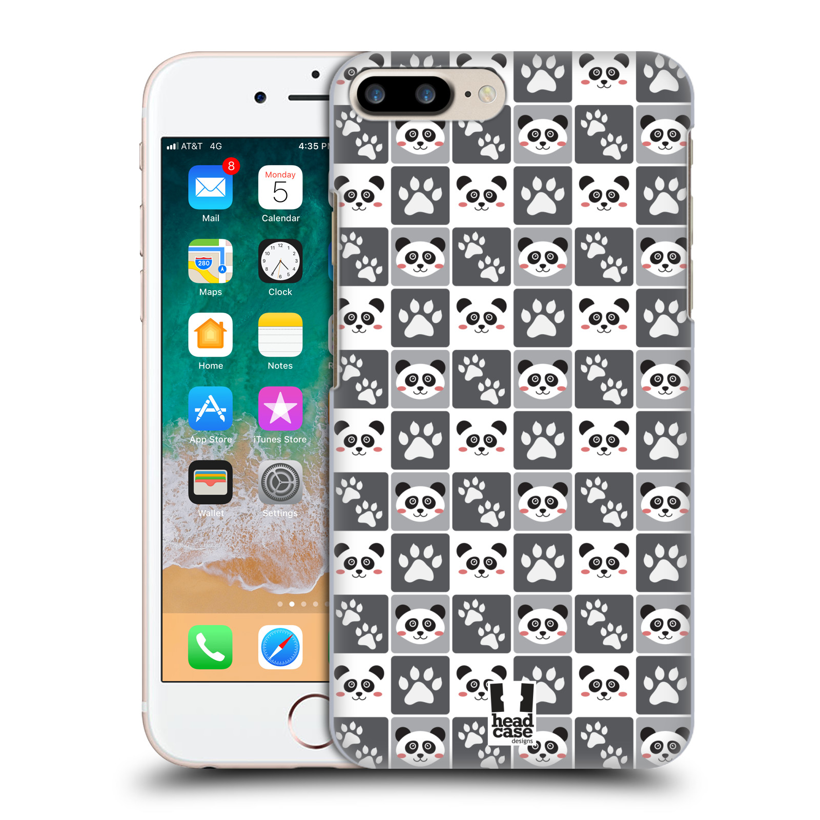 HEAD CASE plastový obal na mobil Apple Iphone 7 PLUS vzor Zvířecí razítka MEDVÍDEK PANDA