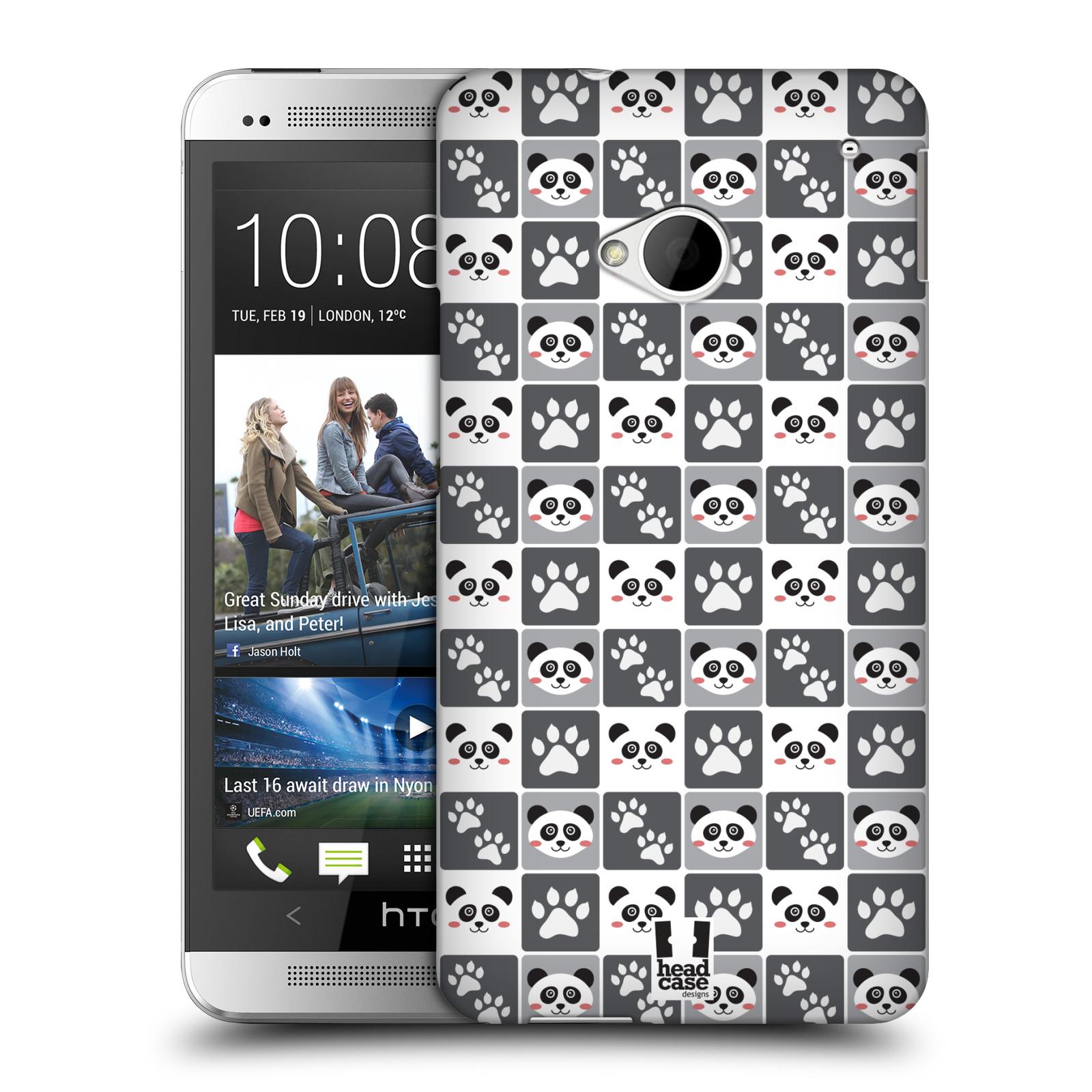 HEAD CASE plastový obal na mobil HTC One (M7) vzor Zvířecí razítka MEDVÍDEK PANDA