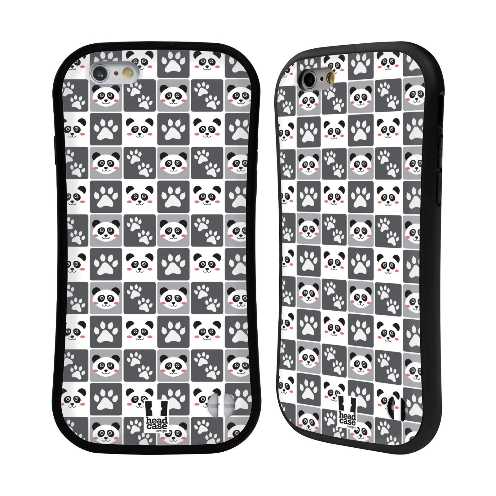 HEAD CASE silikon/plast odolný obal na mobil Apple Iphone 6/6S vzor Zvířecí razítka MEDVÍDEK PANDA