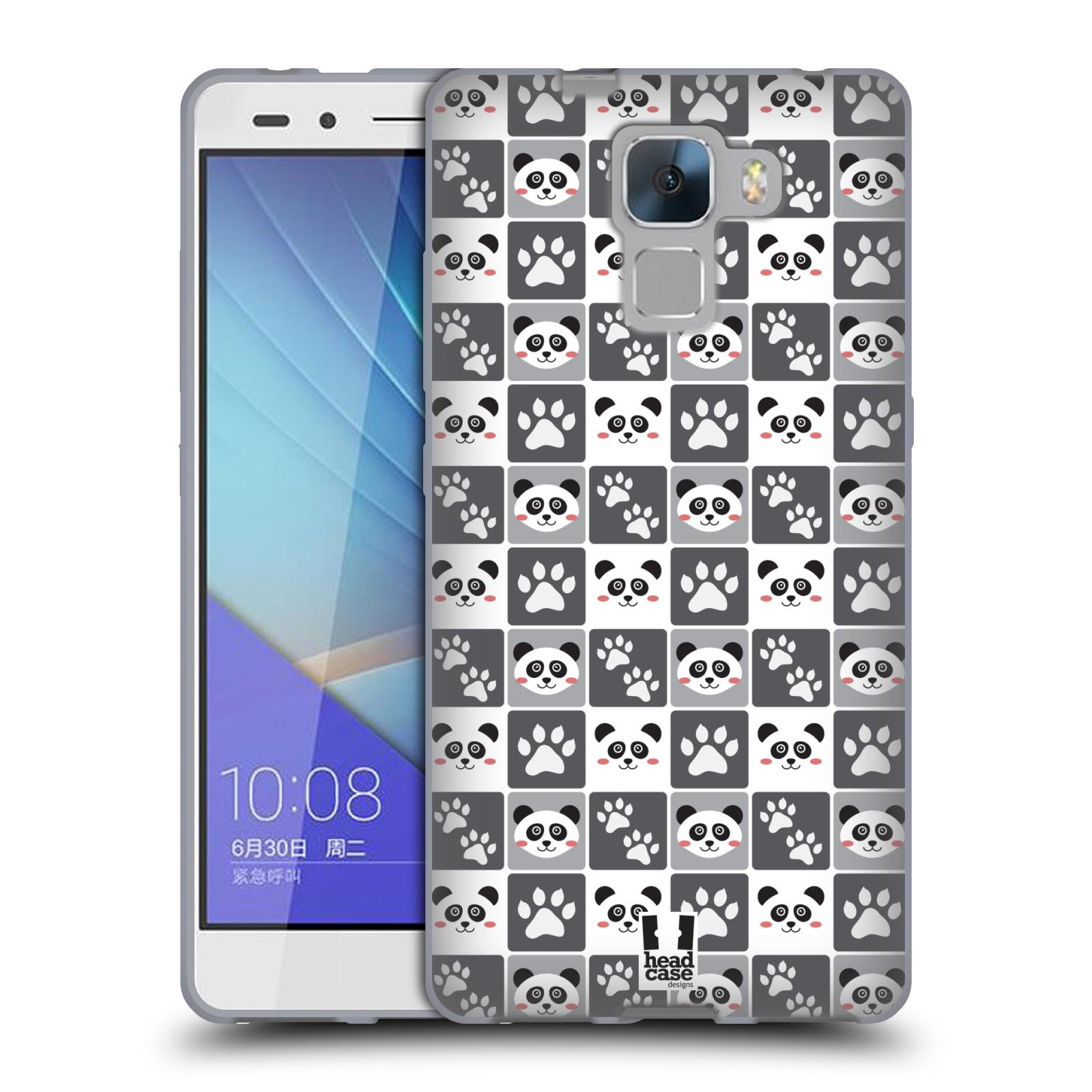 HEAD CASE silikonový obal na mobil HUAWEI HONOR 7 vzor Zvířecí razítka MEDVÍDEK PANDA