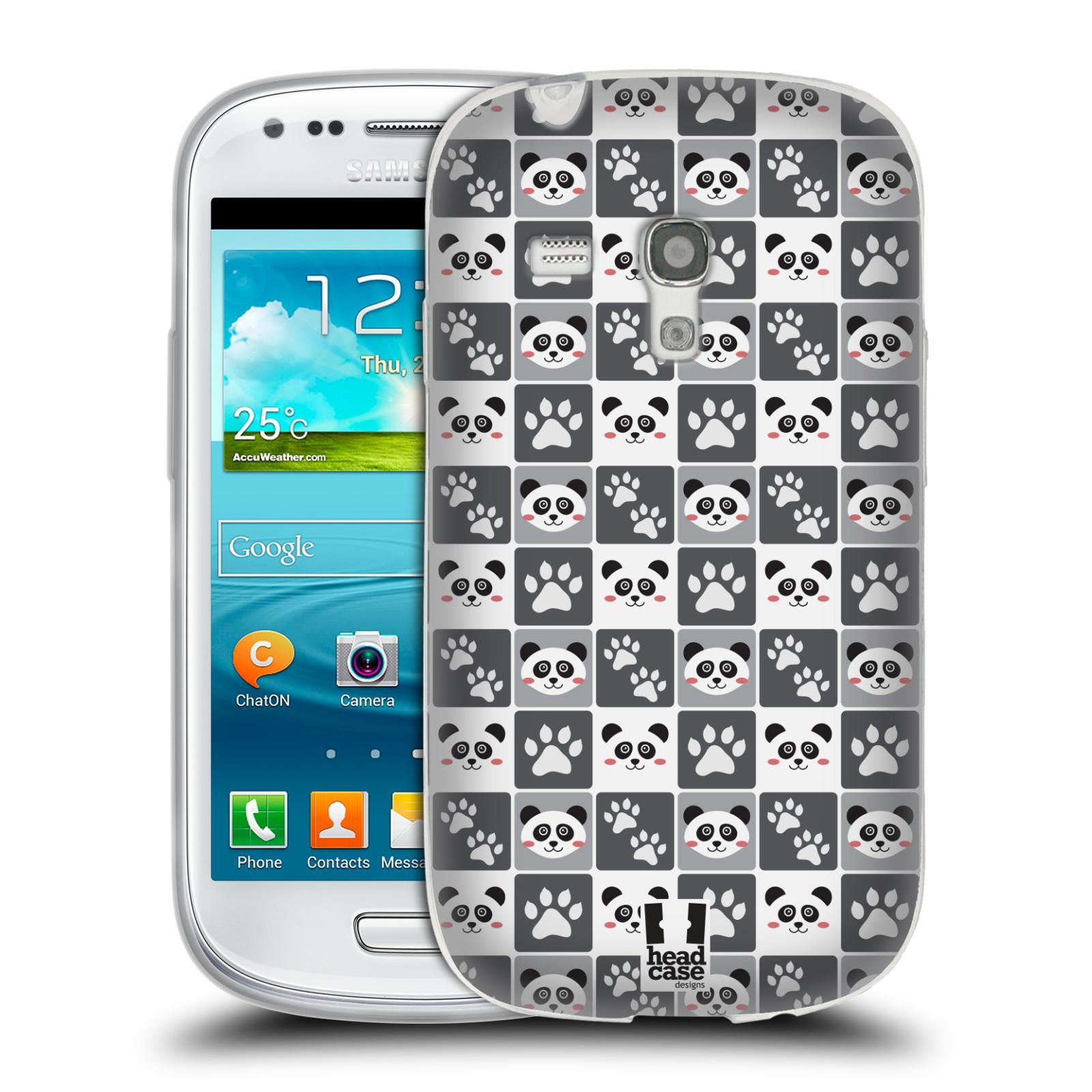 HEAD CASE silikonový obal na mobil Samsung Galaxy S3 MINI i8190 vzor Zvířecí razítka MEDVÍDEK PANDA