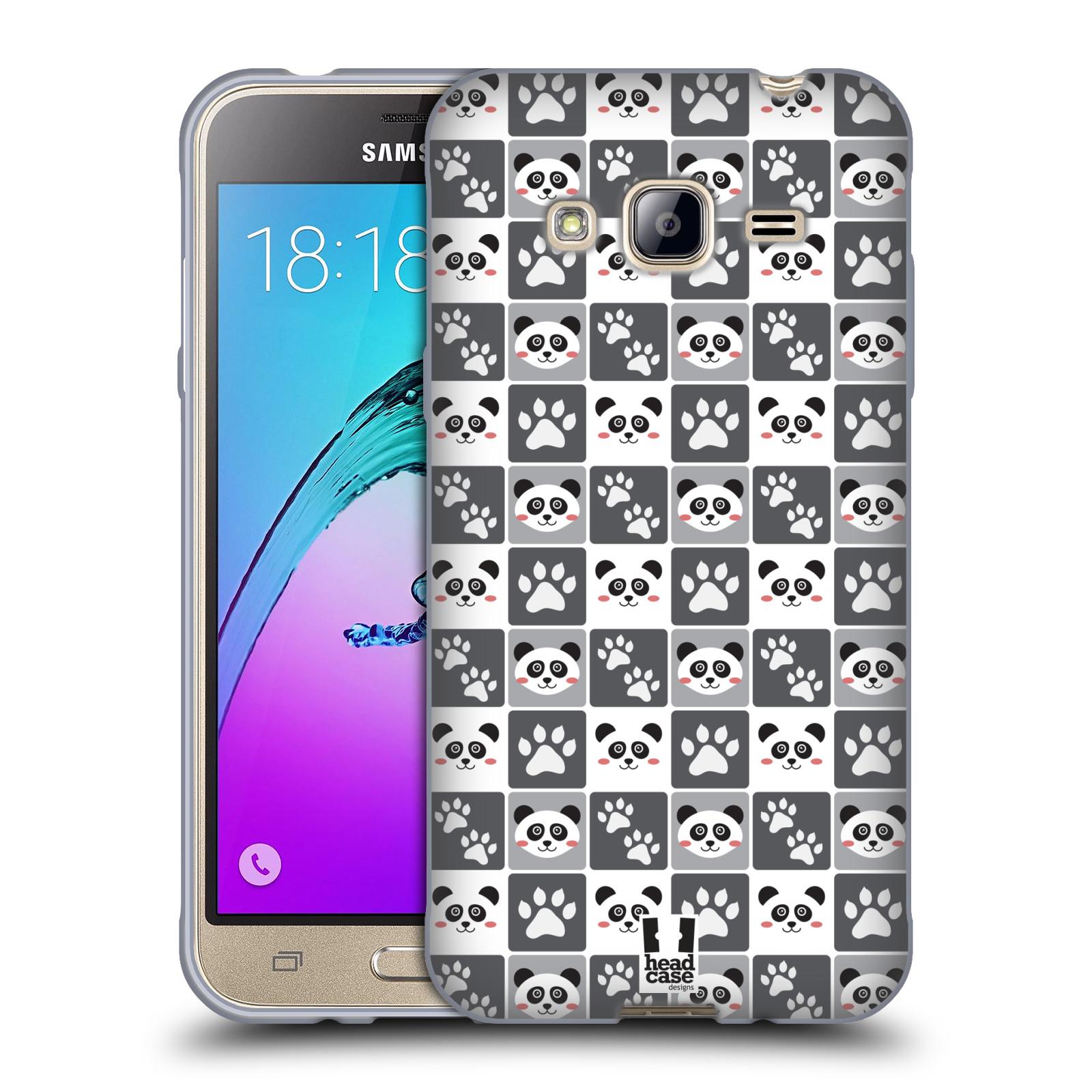 HEAD CASE silikonový obal na mobil Samsung Galaxy J3, J3 2016 vzor Zvířecí razítka MEDVÍDEK PANDA