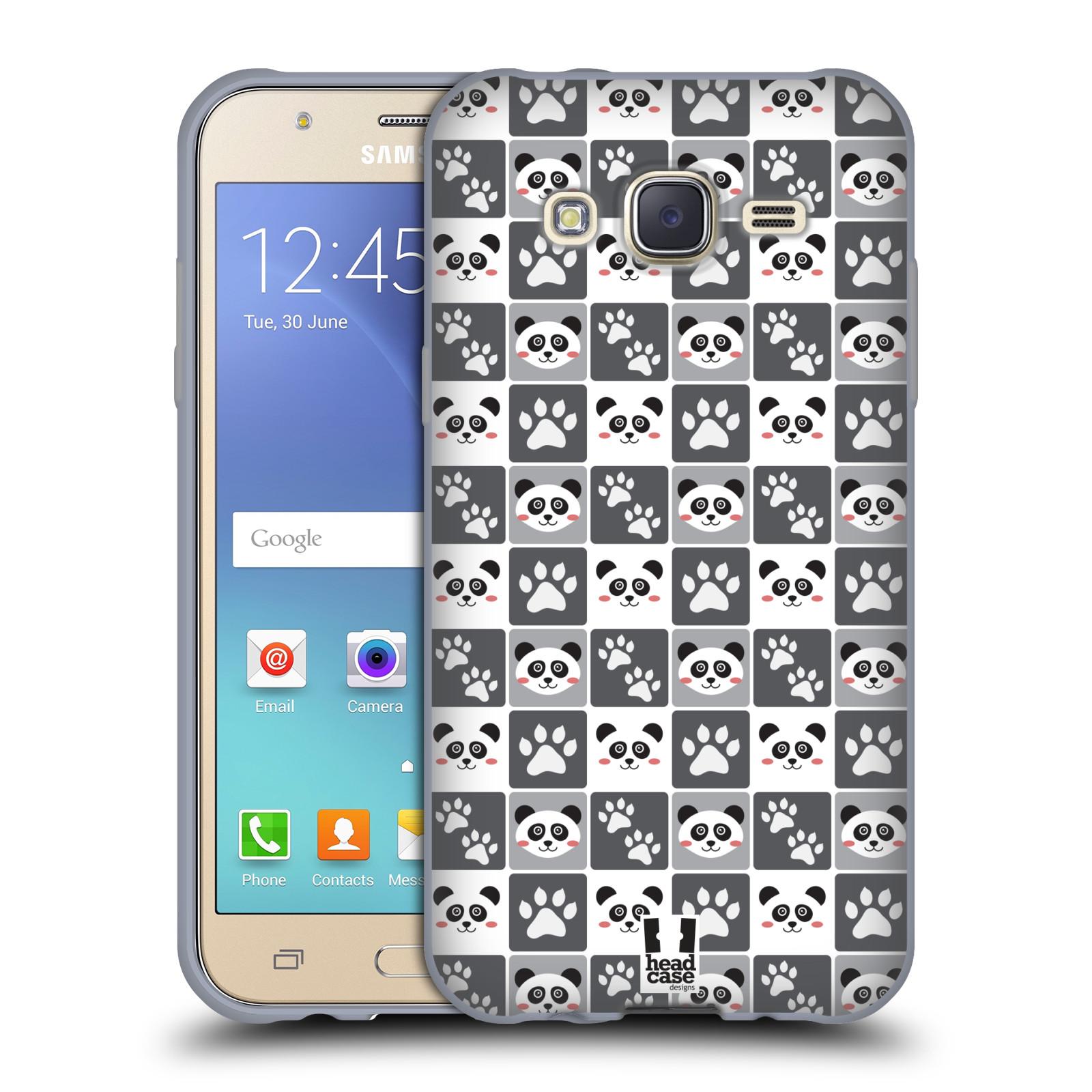 HEAD CASE silikonový obal na mobil Samsung Galaxy J5, J500, (J5 DUOS) vzor Zvířecí razítka MEDVÍDEK PANDA