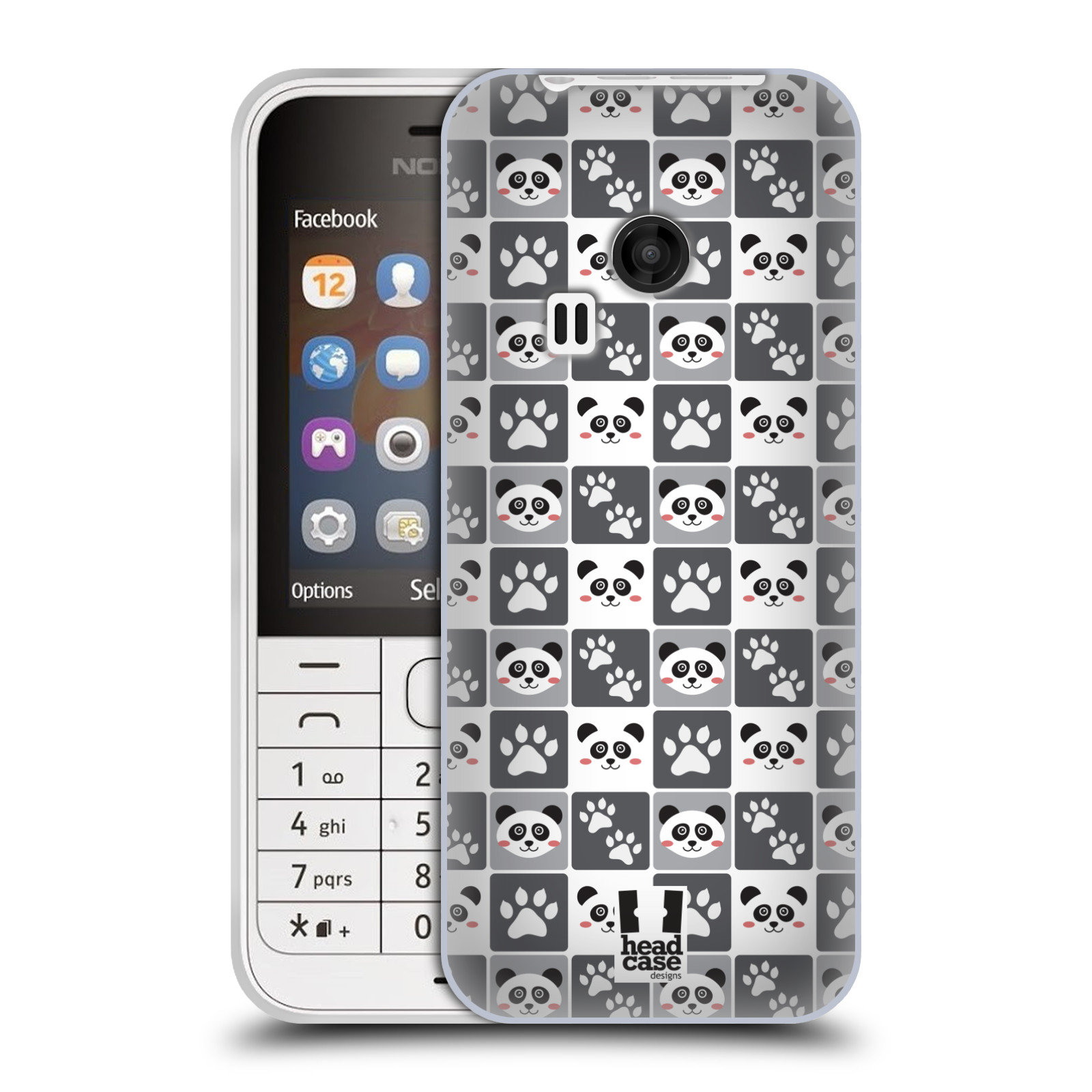 HEAD CASE silikonový obal na mobil NOKIA 220 / NOKIA 220 DUAL SIM vzor Zvířecí razítka MEDVÍDEK PANDA