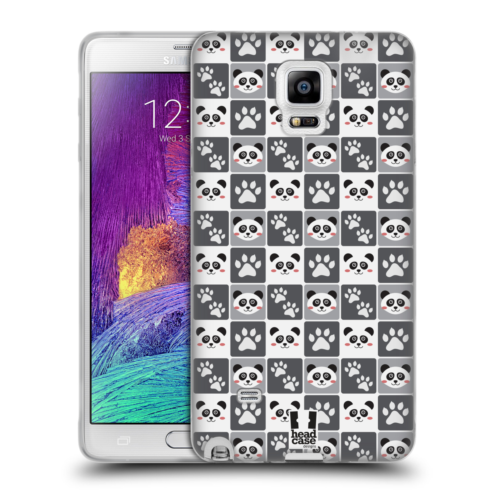 HEAD CASE silikonový obal na mobil Samsung Galaxy Note 4 (N910) vzor Zvířecí razítka MEDVÍDEK PANDA