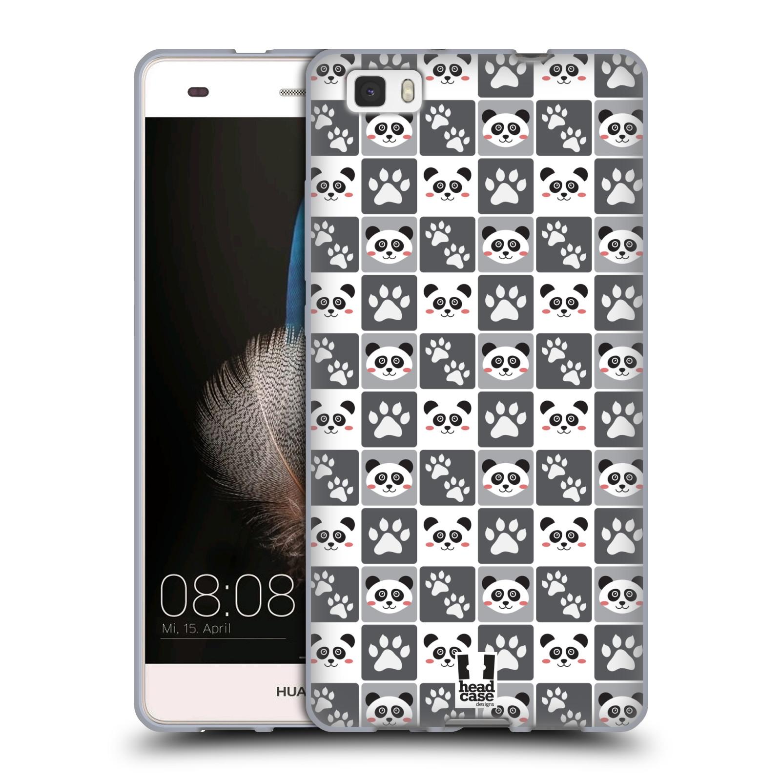 HEAD CASE silikonový obal na mobil HUAWEI P8 LITE vzor Zvířecí razítka MEDVÍDEK PANDA