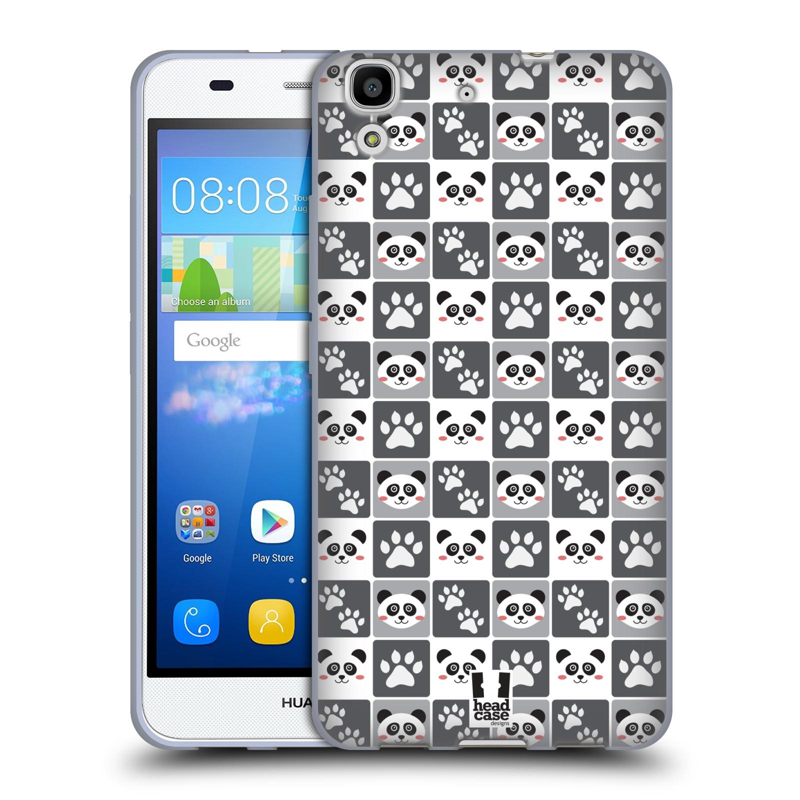 HEAD CASE silikonový obal na mobil HUAWEI Y6 vzor Zvířecí razítka MEDVÍDEK PANDA