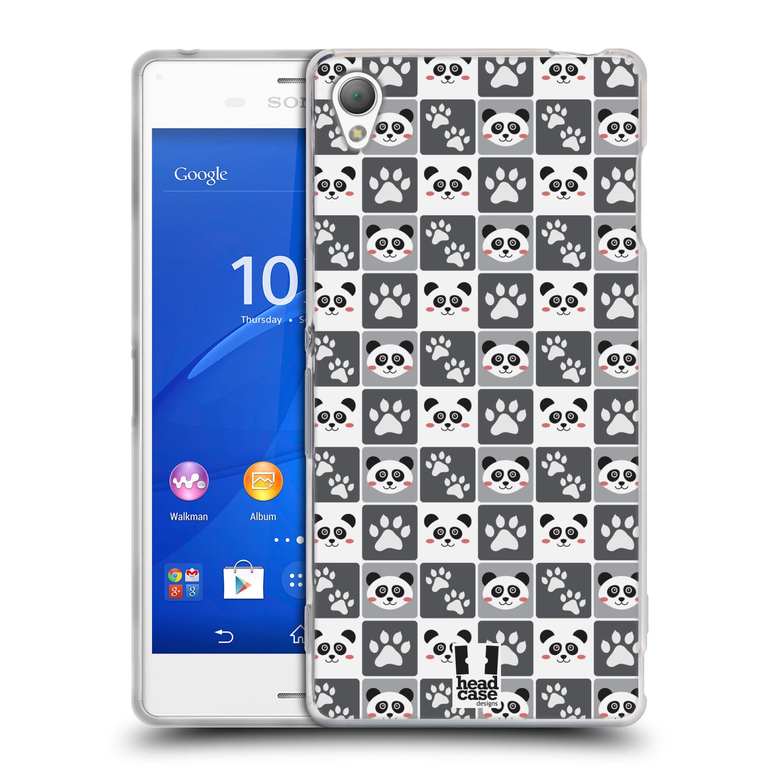 HEAD CASE silikonový obal na mobil Sony Xperia Z3 vzor Zvířecí razítka MEDVÍDEK PANDA