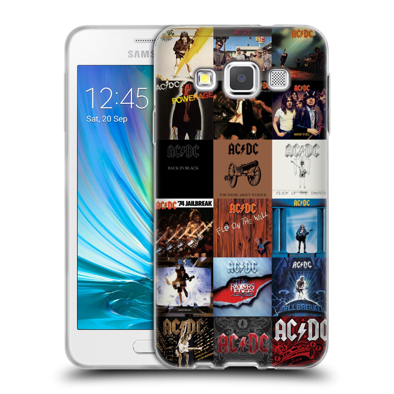 HEAD CASE silikonový obal na mobil Samsung Galaxy A3 (A300) rocková skupina ACDC seznam alba