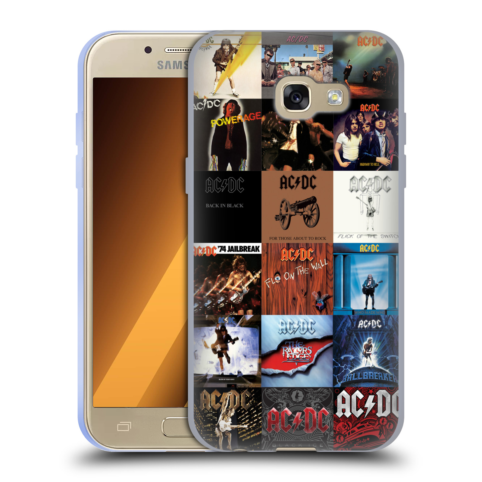HEAD CASE silikonový obal na mobil Samsung Galaxy A3 2017 (A320) rocková skupina ACDC seznam alba