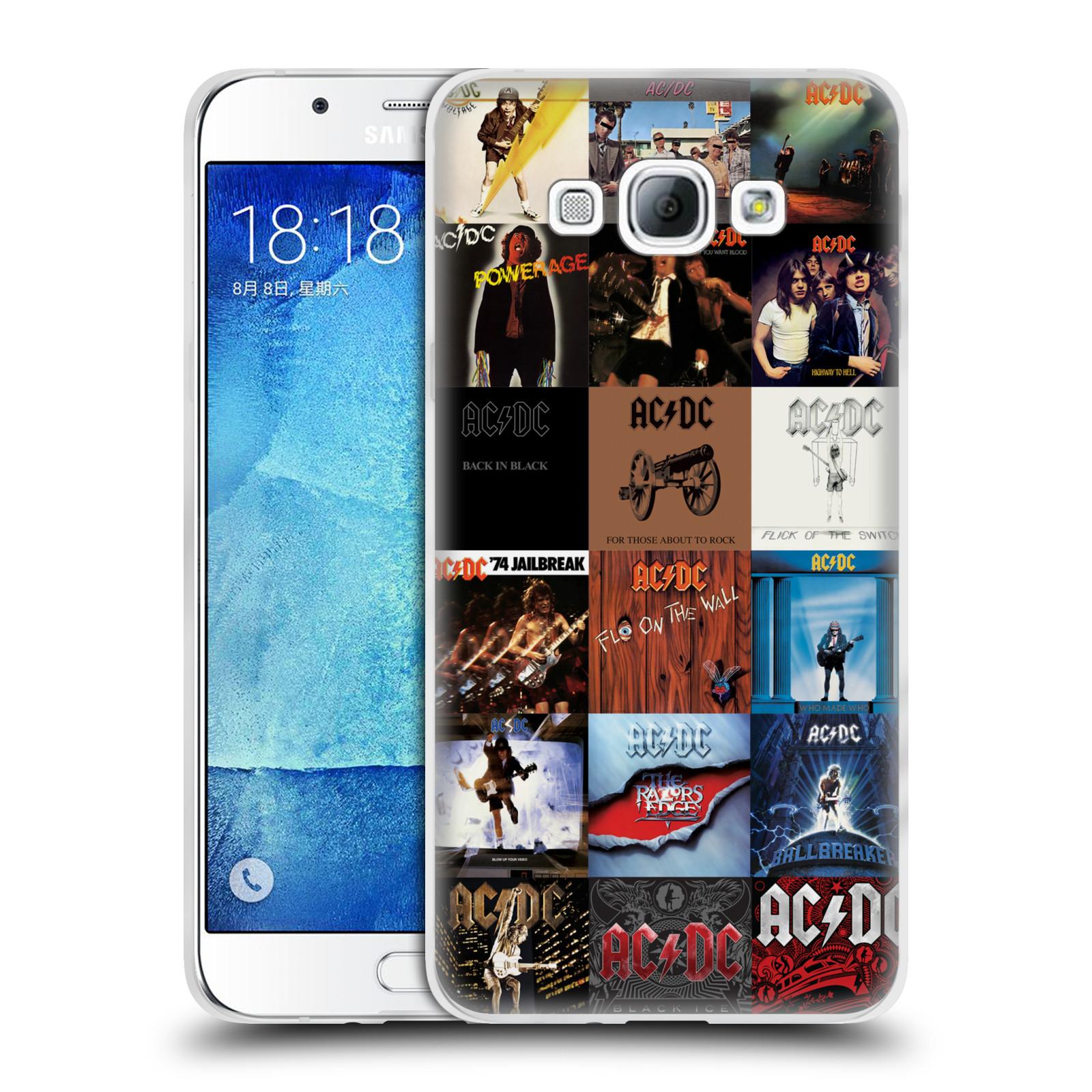 HEAD CASE silikonový obal na mobil Samsung Galaxy A8 2015 rocková skupina ACDC seznam alba