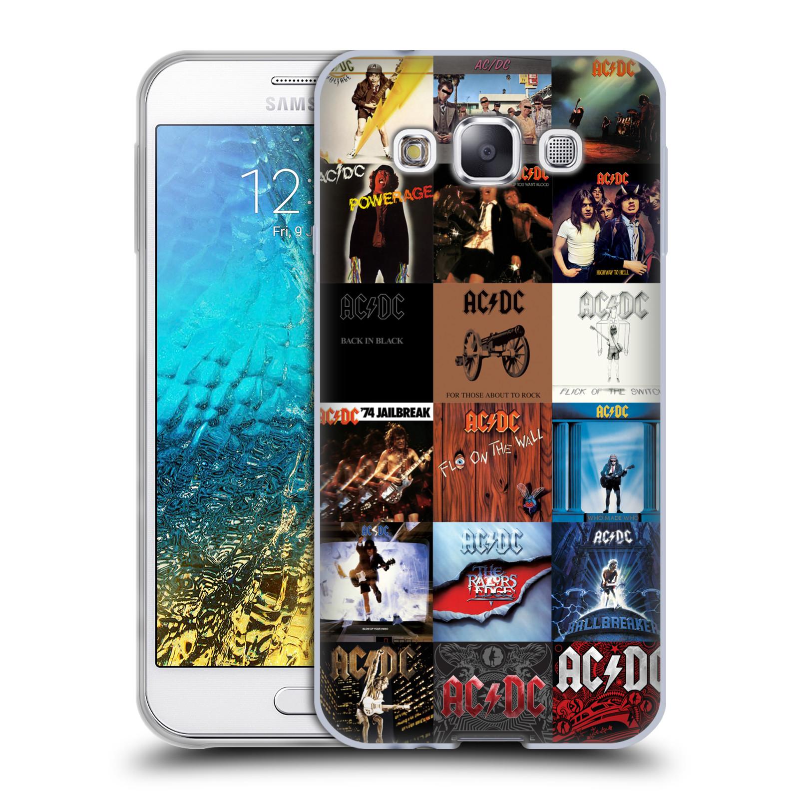 HEAD CASE silikonový obal na mobil Samsung Galaxy E5 rocková skupina ACDC seznam alba