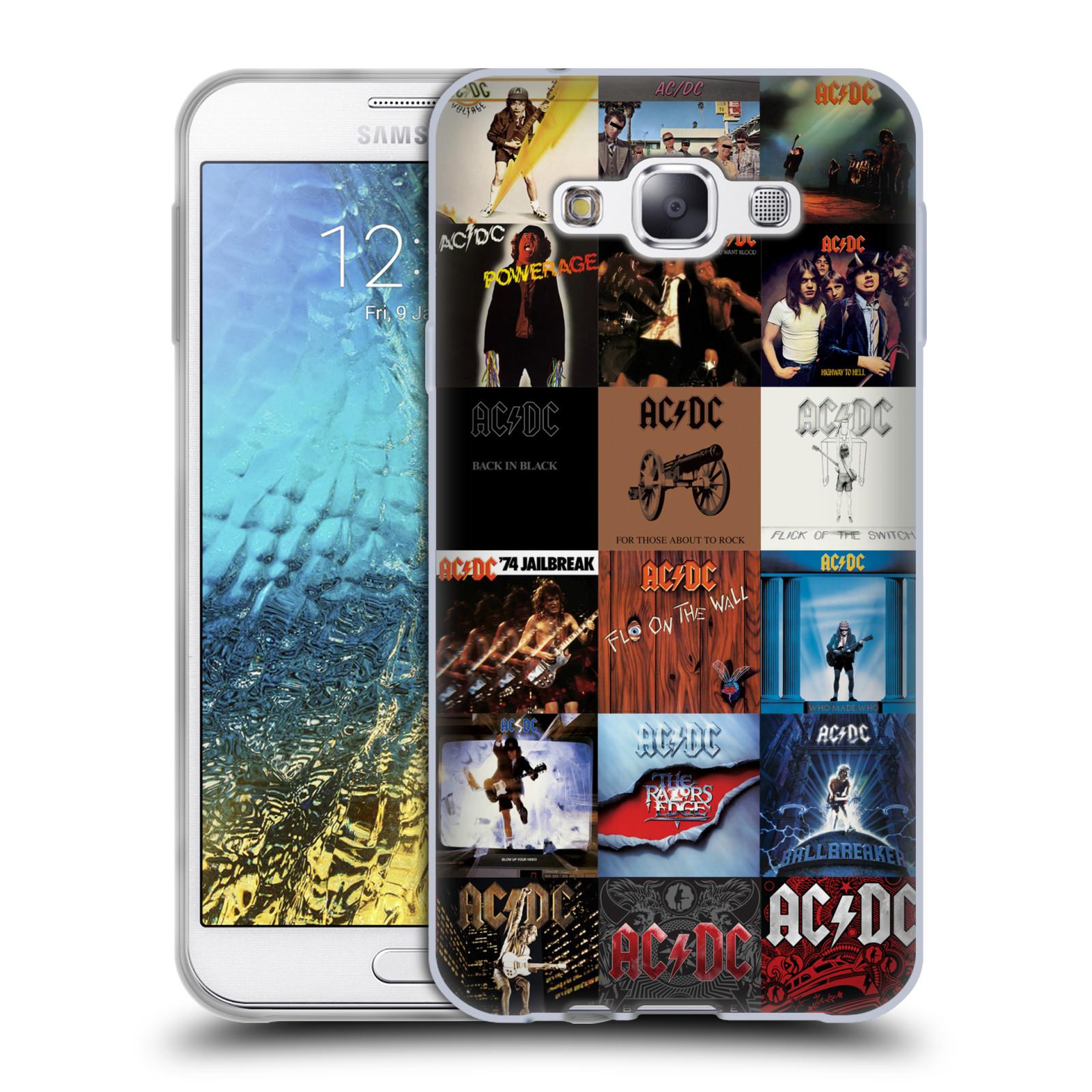 HEAD CASE silikonový obal na mobil Samsung Galaxy E7 rocková skupina ACDC seznam alba