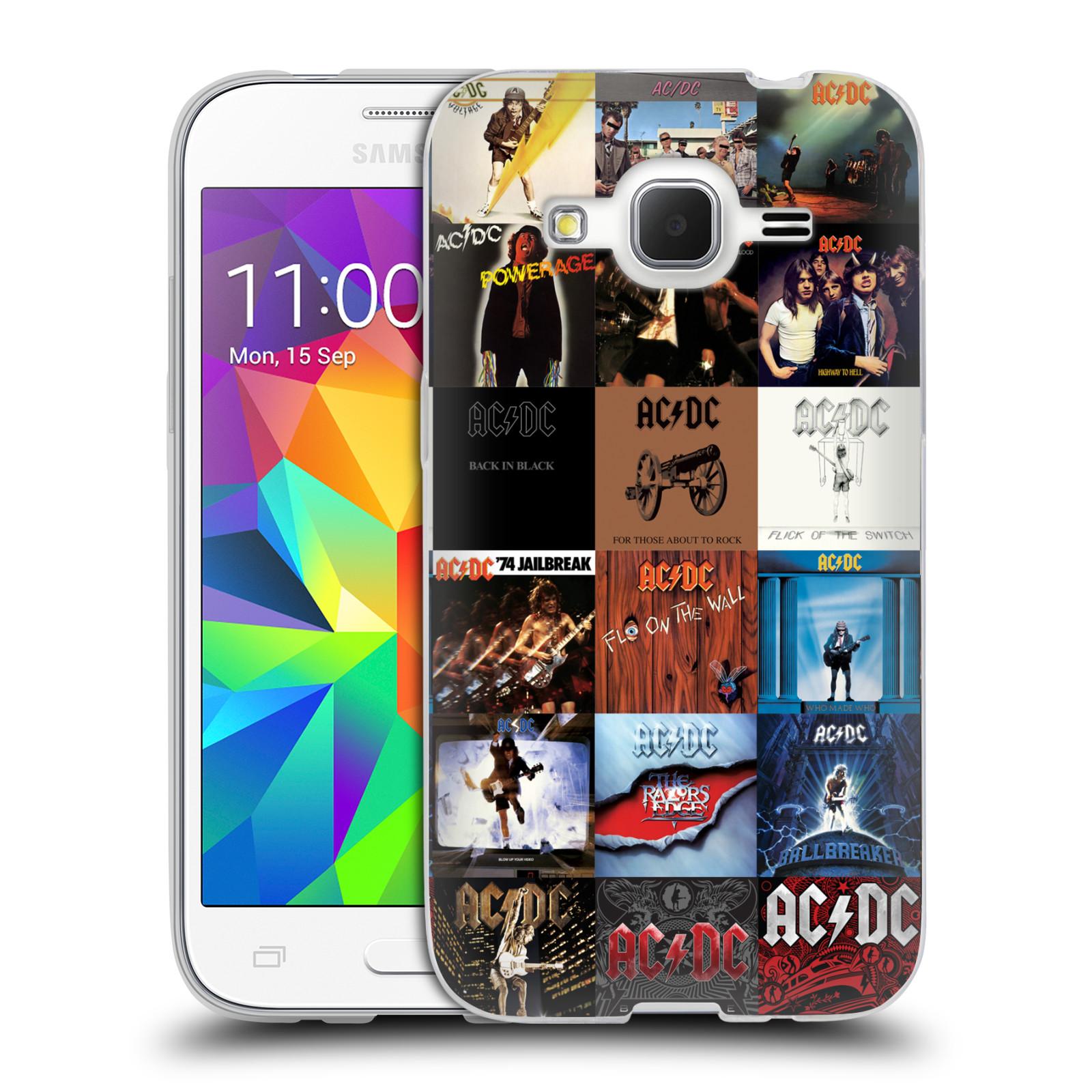 HEAD CASE silikonový obal na mobil Samsung Galaxy Core Prime (G360) rocková skupina ACDC seznam alba