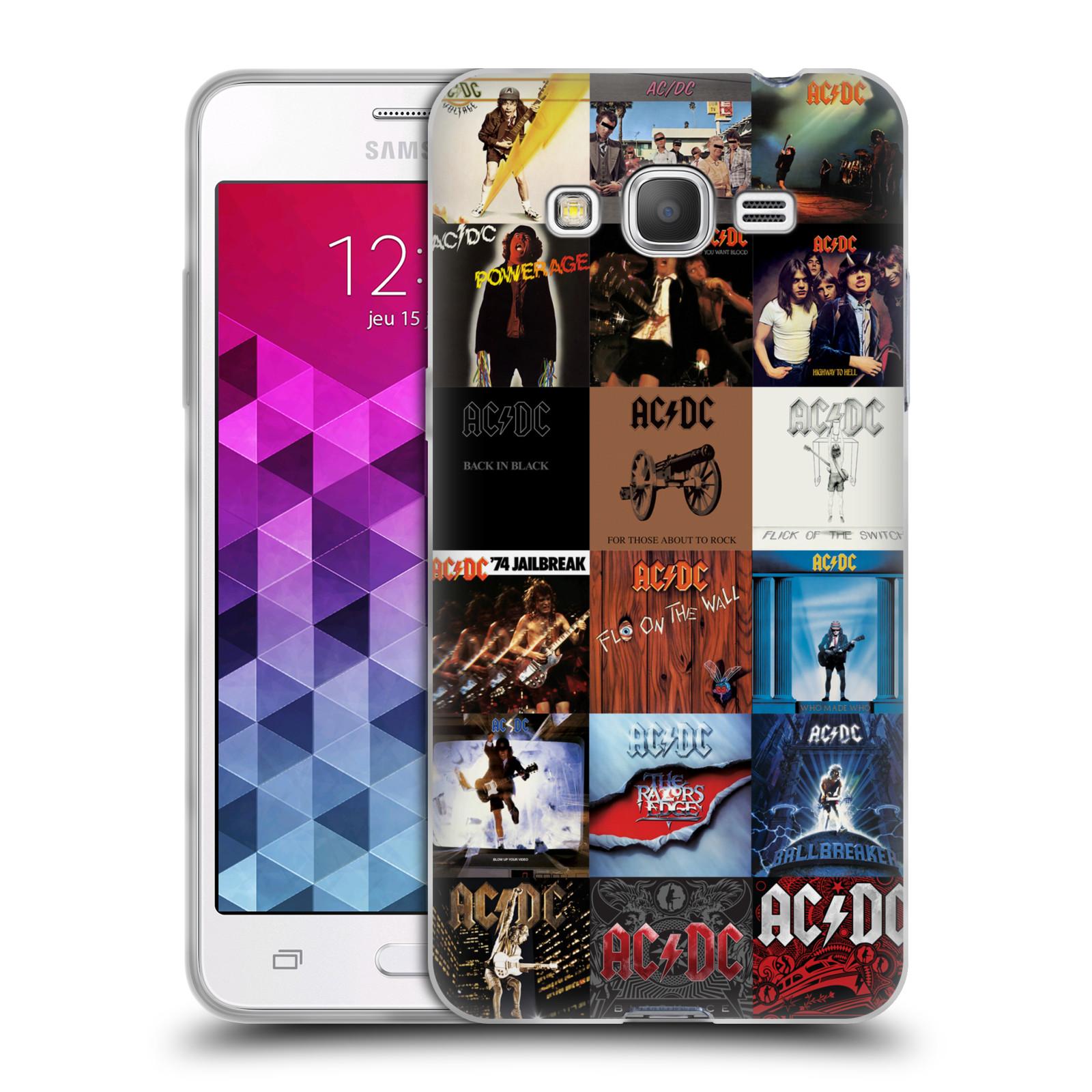 HEAD CASE silikonový obal na mobil Samsung Galaxy Grand Prime rocková skupina ACDC seznam alba