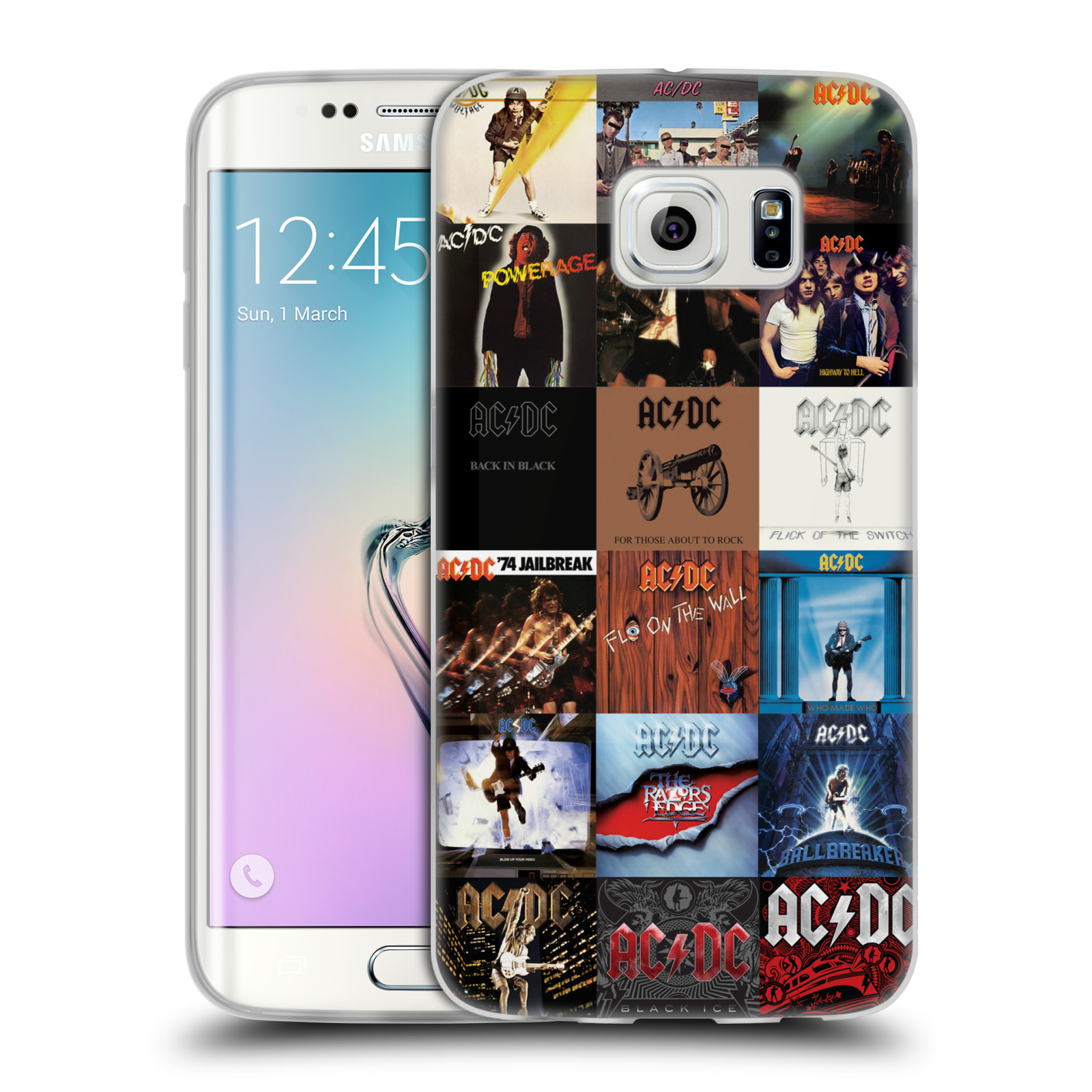 HEAD CASE silikonový obal na mobil Samsung Galaxy S6 EDGE rocková skupina ACDC seznam alba