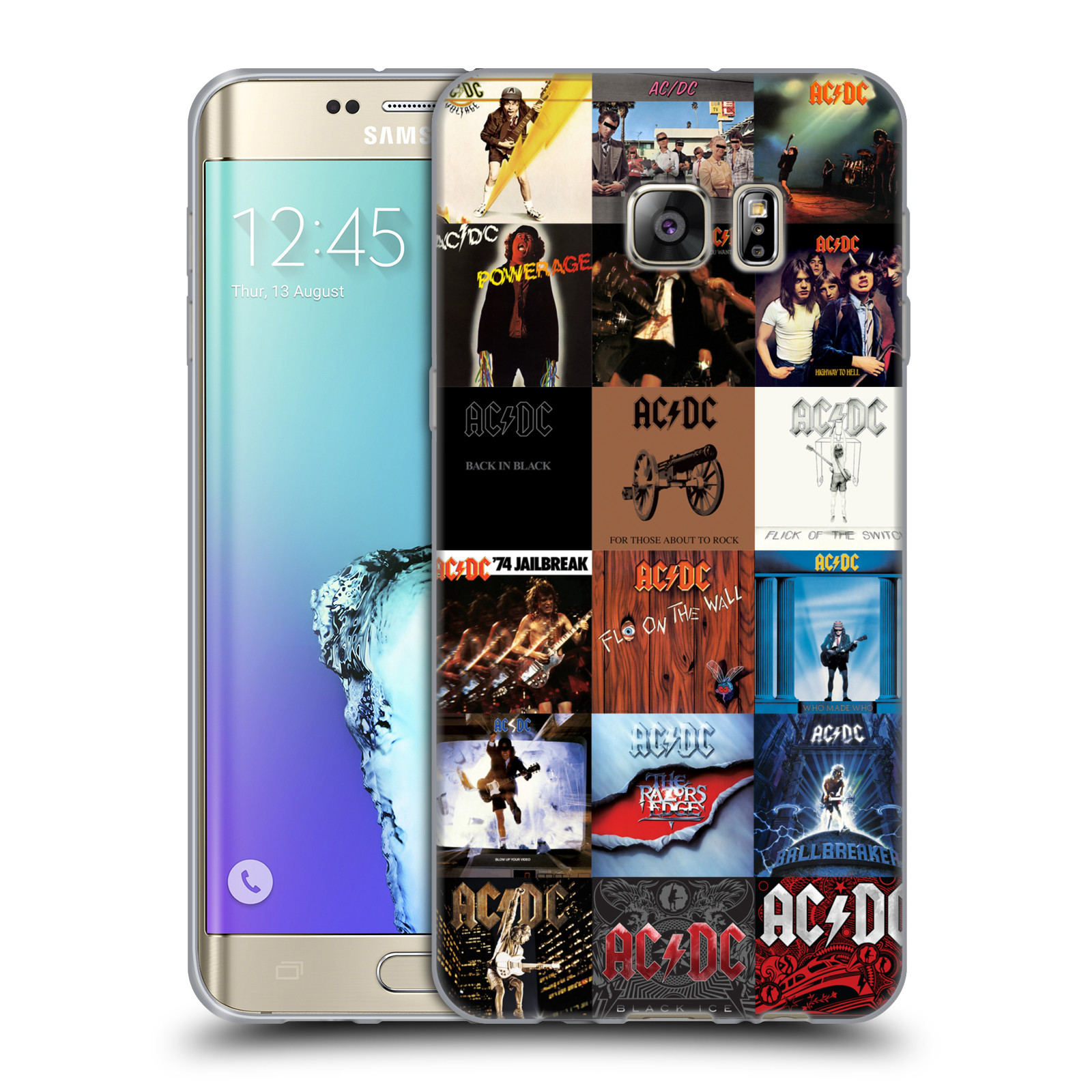 HEAD CASE silikonový obal na mobil Samsung Galaxy S6 EDGE PLUS rocková skupina ACDC seznam alba
