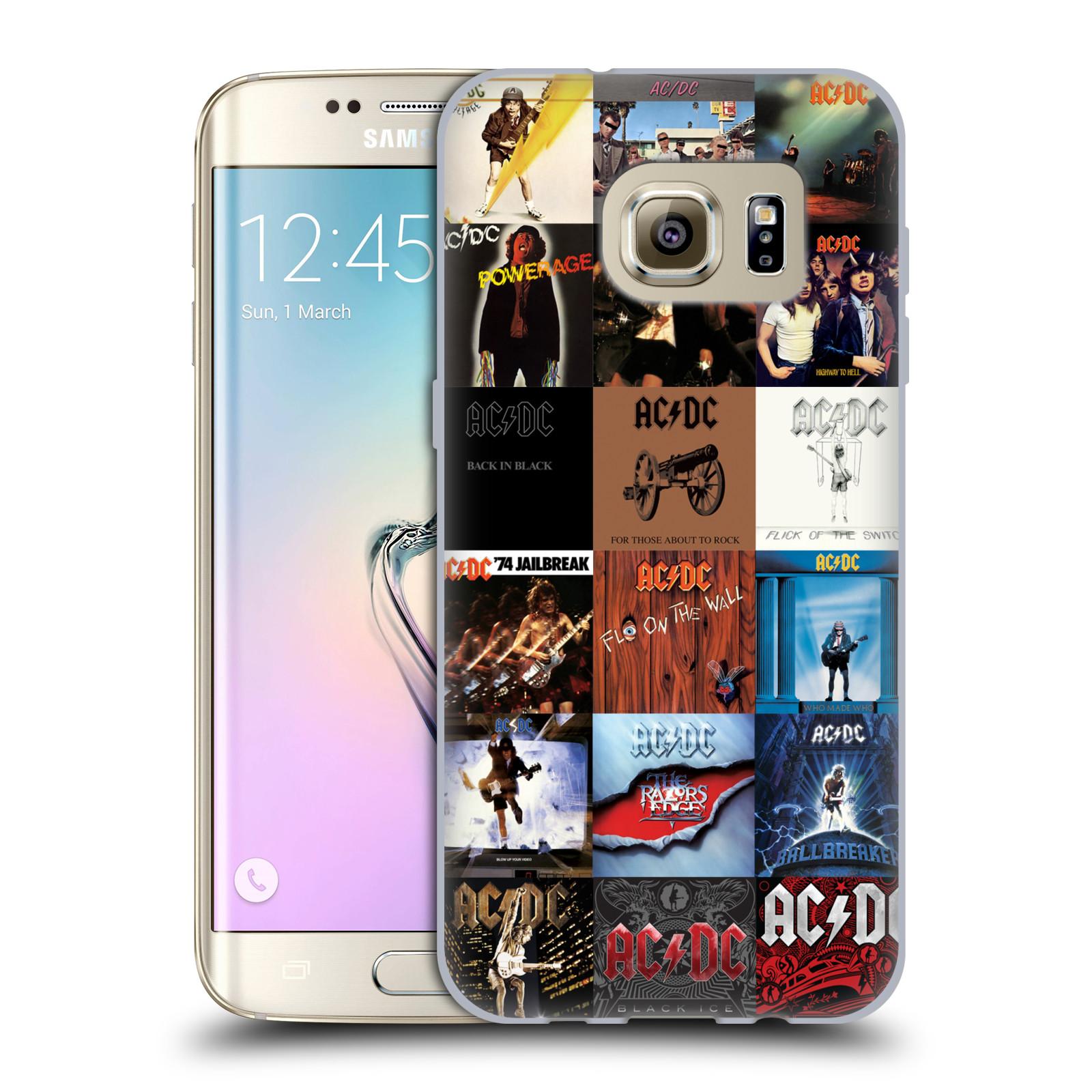 HEAD CASE silikonový obal na mobil Samsung Galaxy S7 EDGE rocková skupina ACDC seznam alba