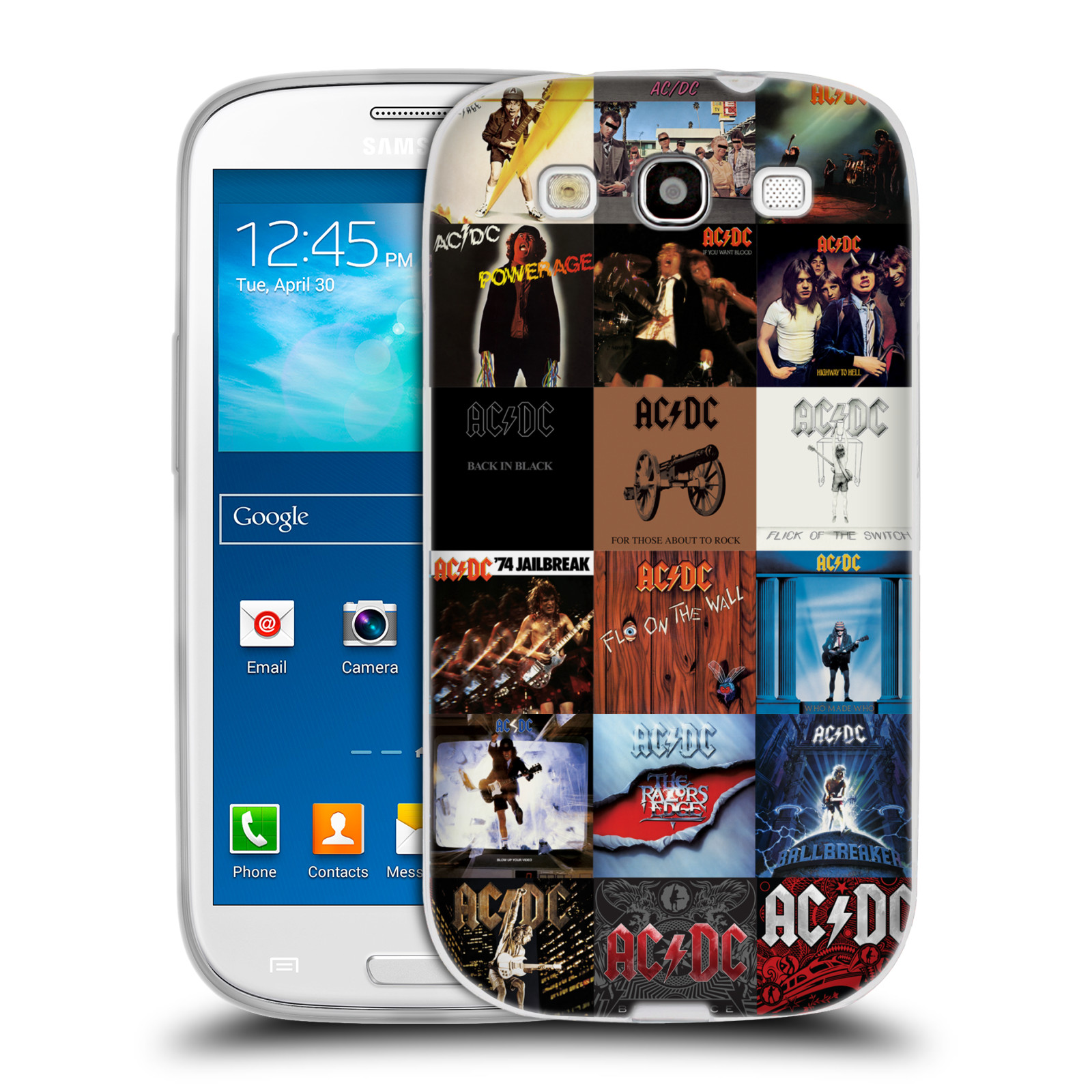 HEAD CASE silikonový obal na mobil Samsung Galaxy S3 rocková skupina ACDC seznam alba