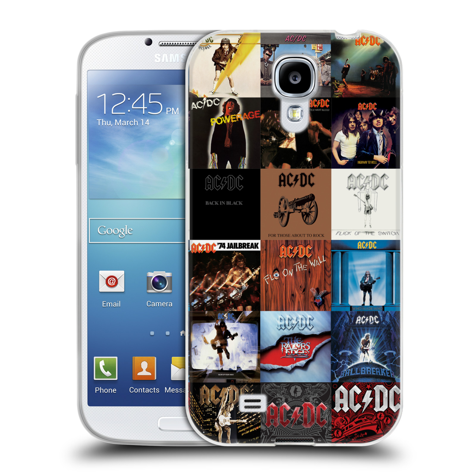 HEAD CASE silikonový obal na mobil Samsung Galaxy S4 rocková skupina ACDC seznam alba