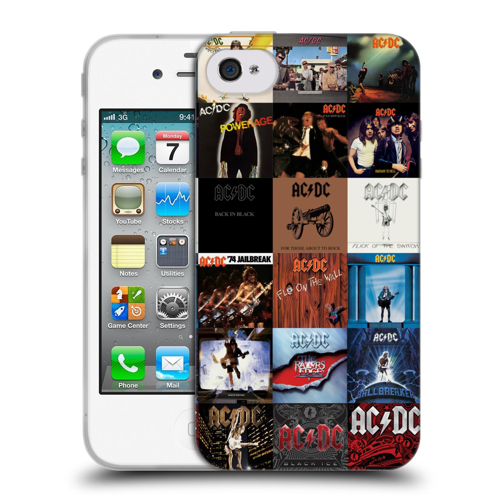 HEAD CASE silikonový obal na mobil Apple Iphone 4/4S rocková skupina ACDC seznam alba
