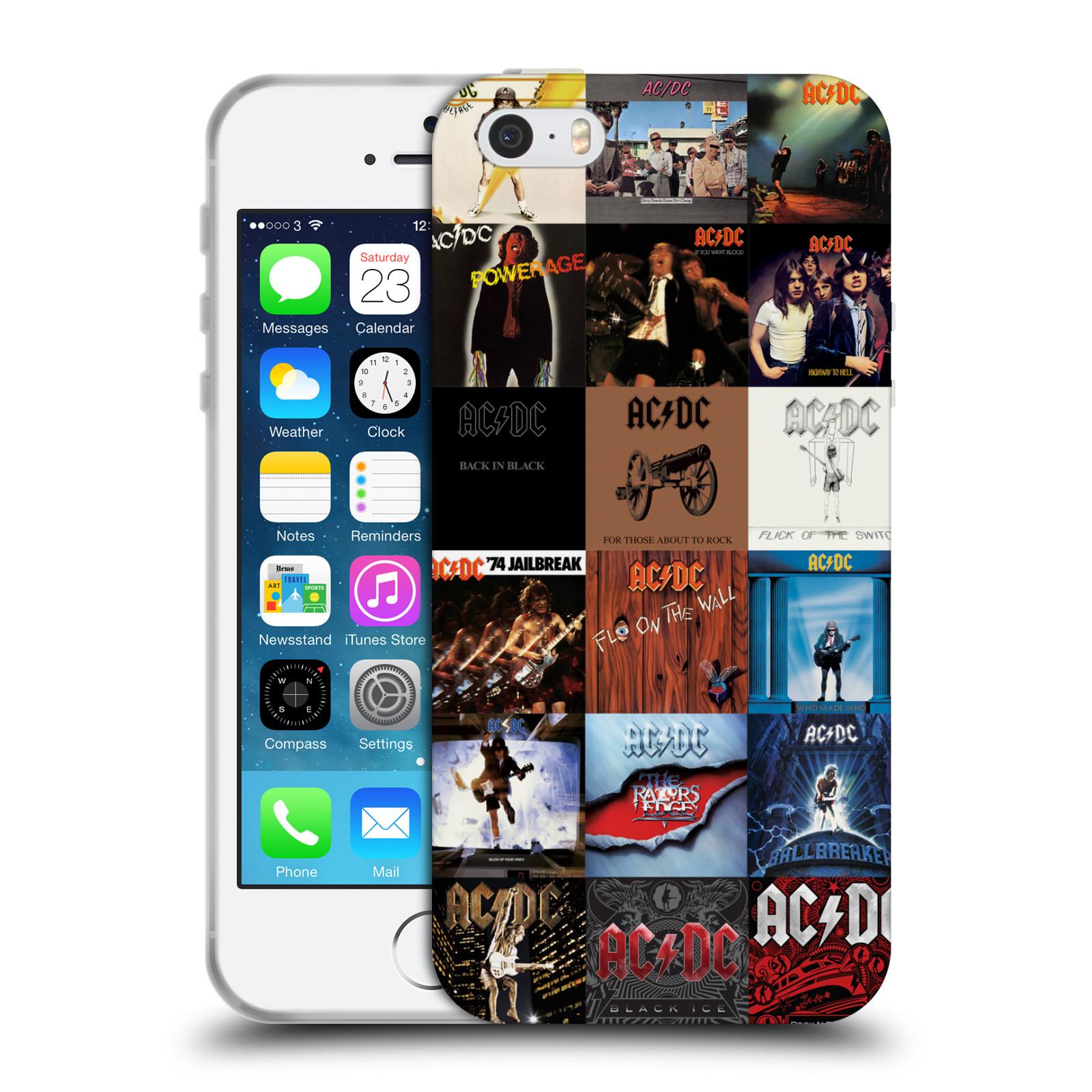 HEAD CASE silikonový obal na mobil Apple Iphone 5/5S rocková skupina ACDC seznam alba