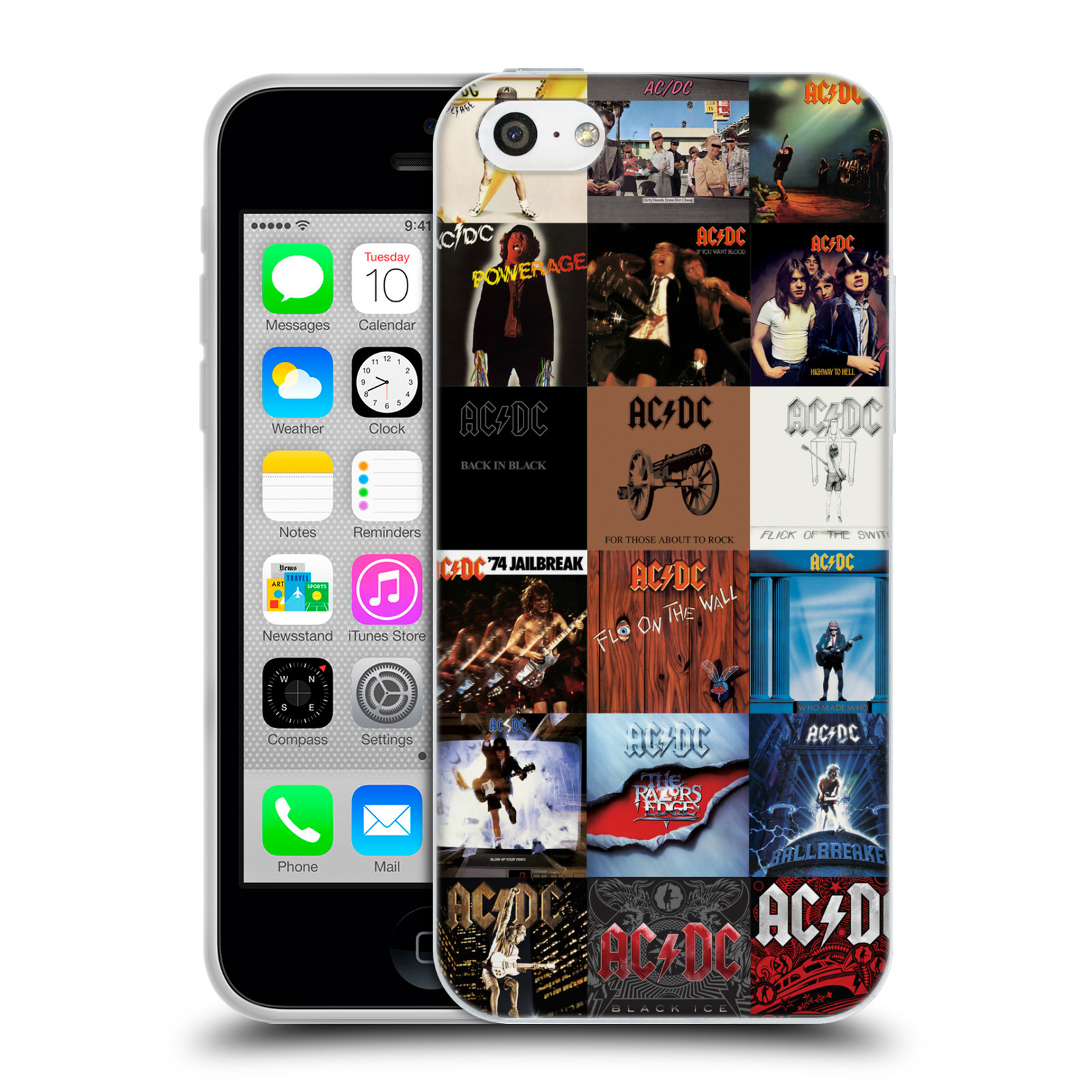 HEAD CASE silikonový obal na mobil Apple Iphone 5C rocková skupina ACDC seznam alba