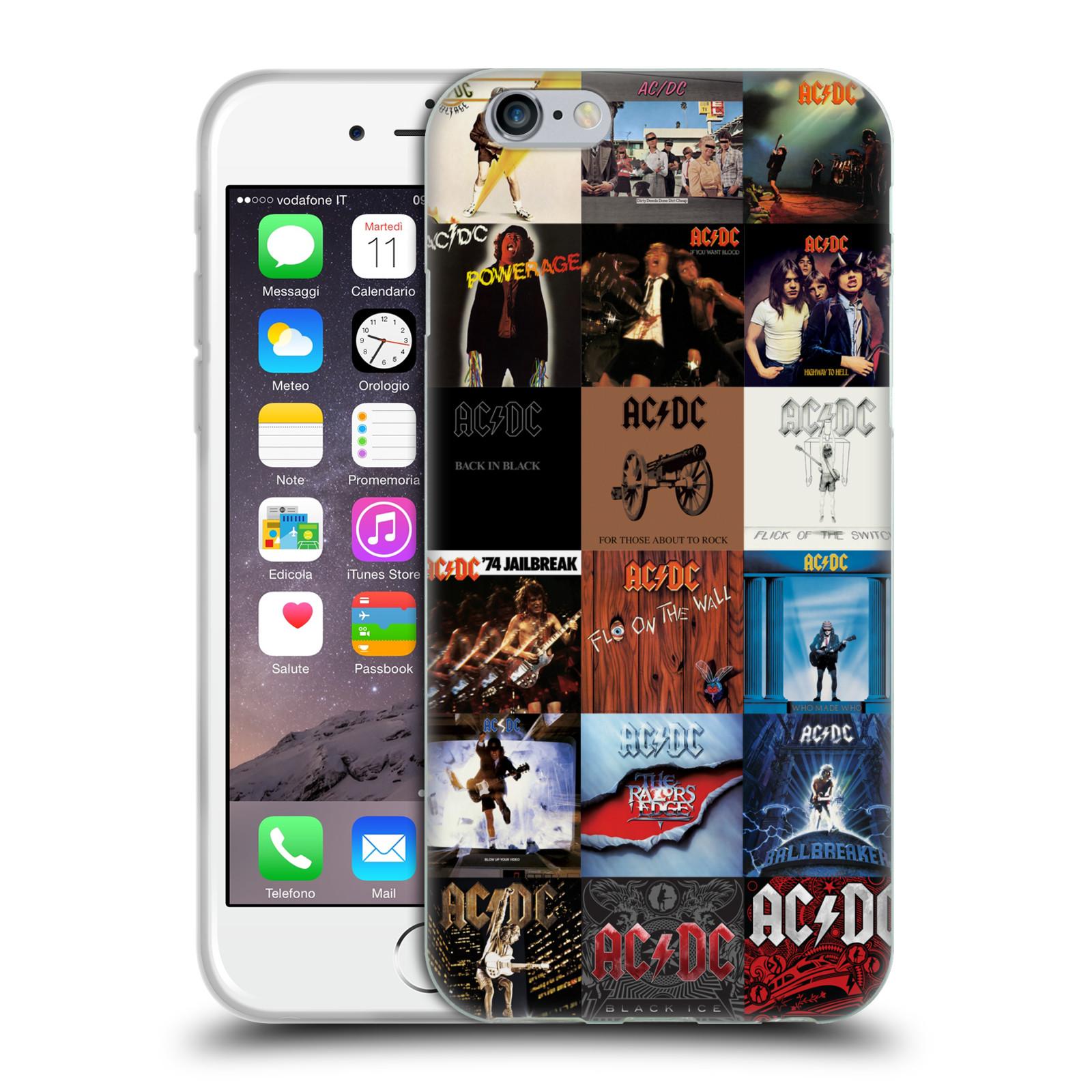 HEAD CASE silikonový obal na mobil Apple Iphone 6/6S rocková skupina ACDC seznam alba