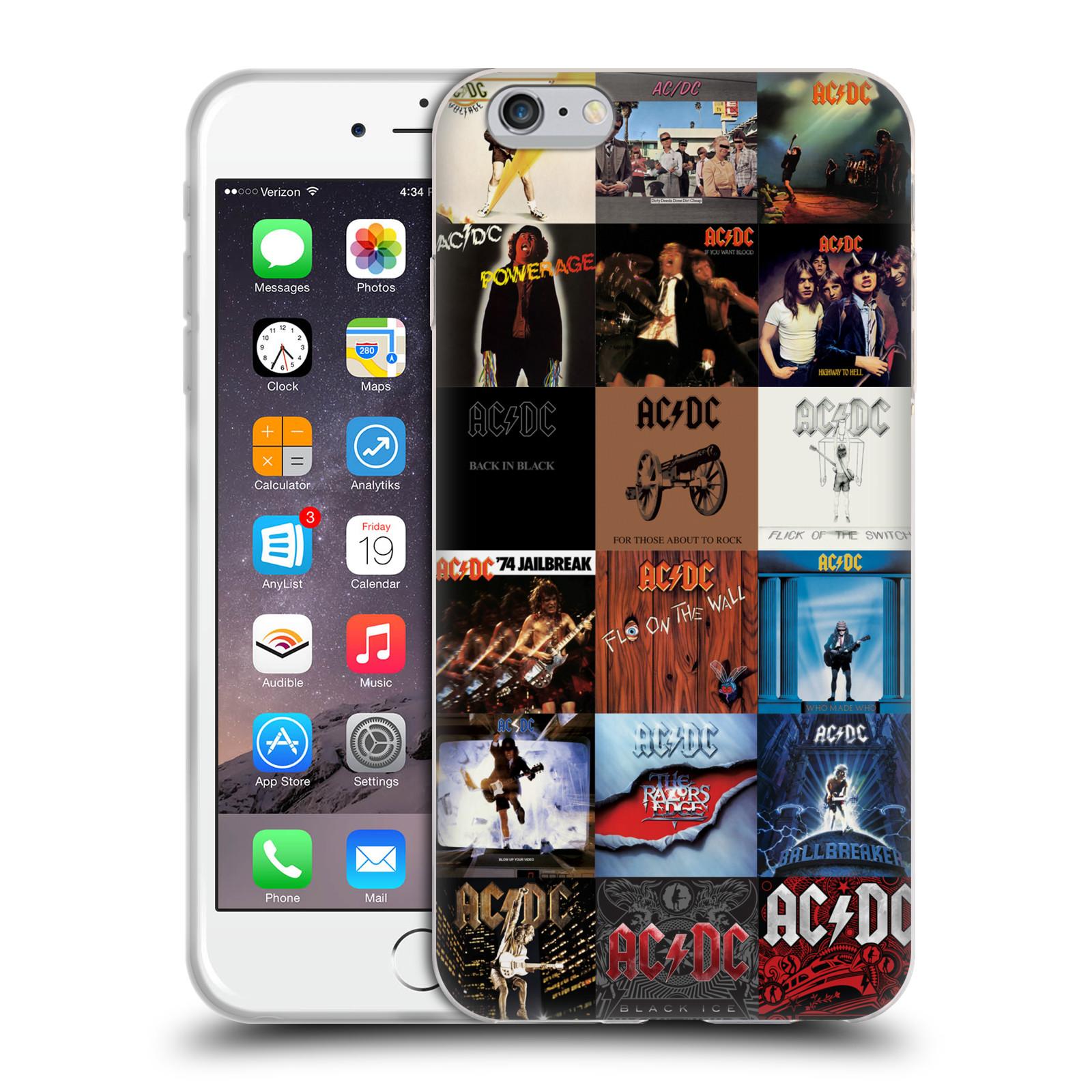 HEAD CASE silikonový obal na mobil Apple Iphone 6/6S PLUS rocková skupina ACDC seznam alba