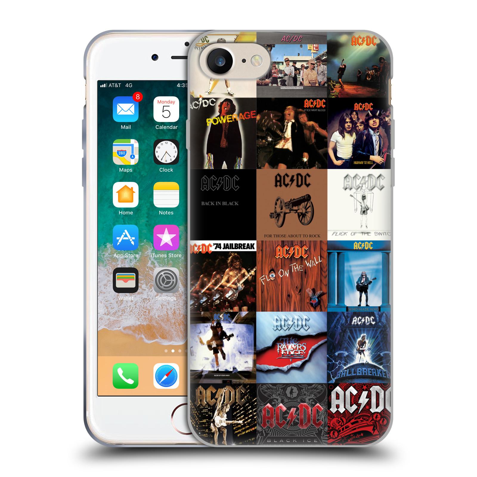 HEAD CASE silikonový obal na mobil Apple Iphone 7 rocková skupina ACDC seznam alba