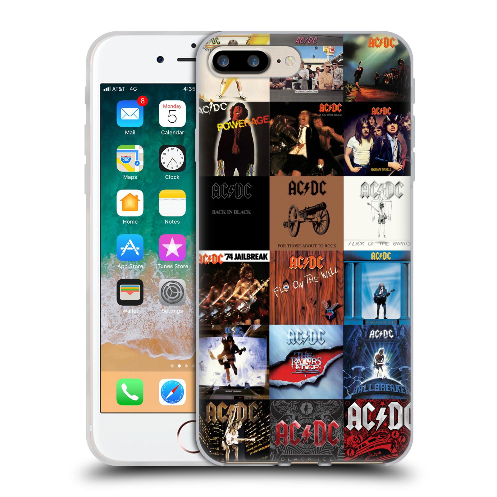 HEAD CASE silikonový obal na mobil Apple Iphone 7 PLUS rocková skupina ACDC seznam alba