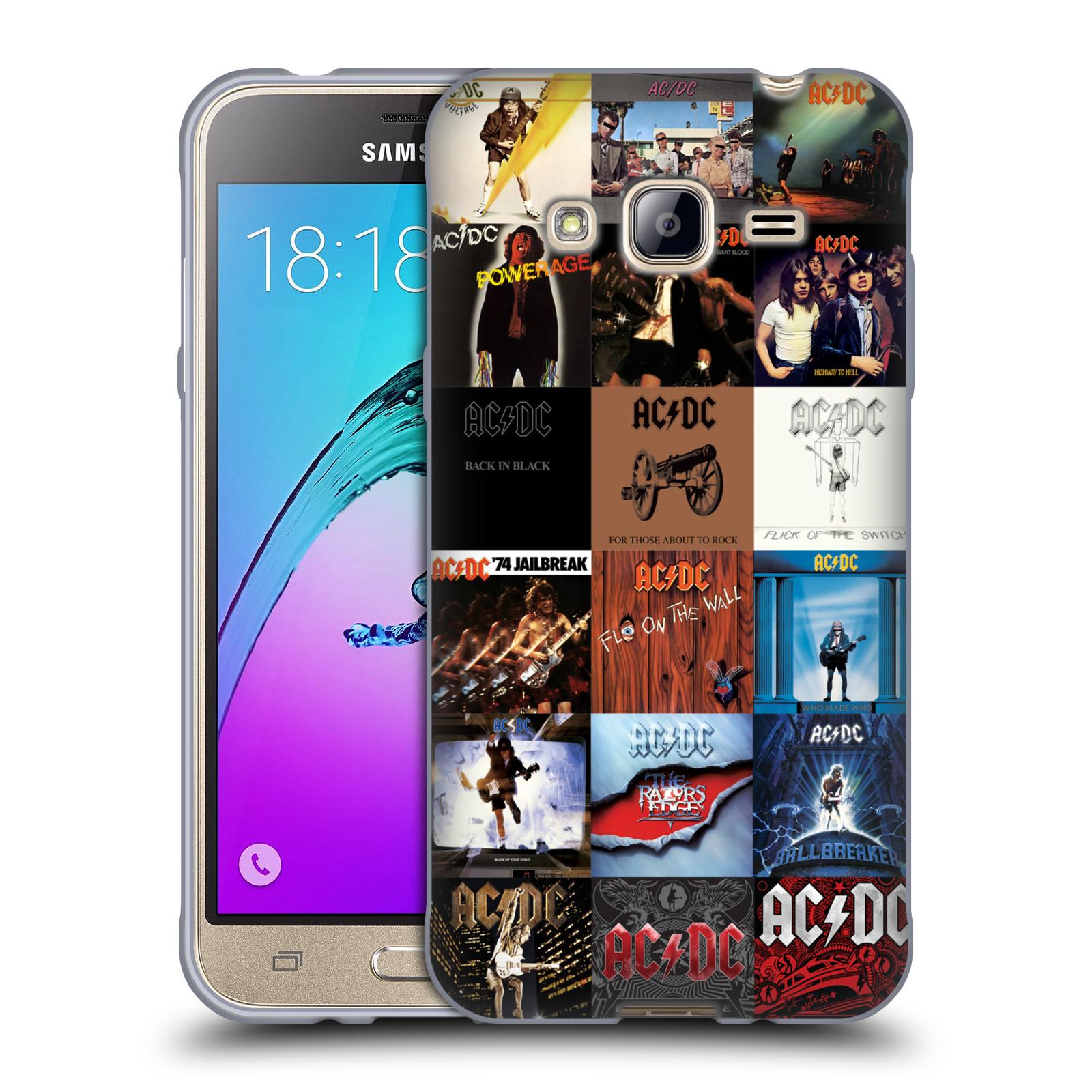 HEAD CASE silikonový obal na mobil Samsung Galaxy J3, J3 2016 rocková skupina ACDC seznam alba
