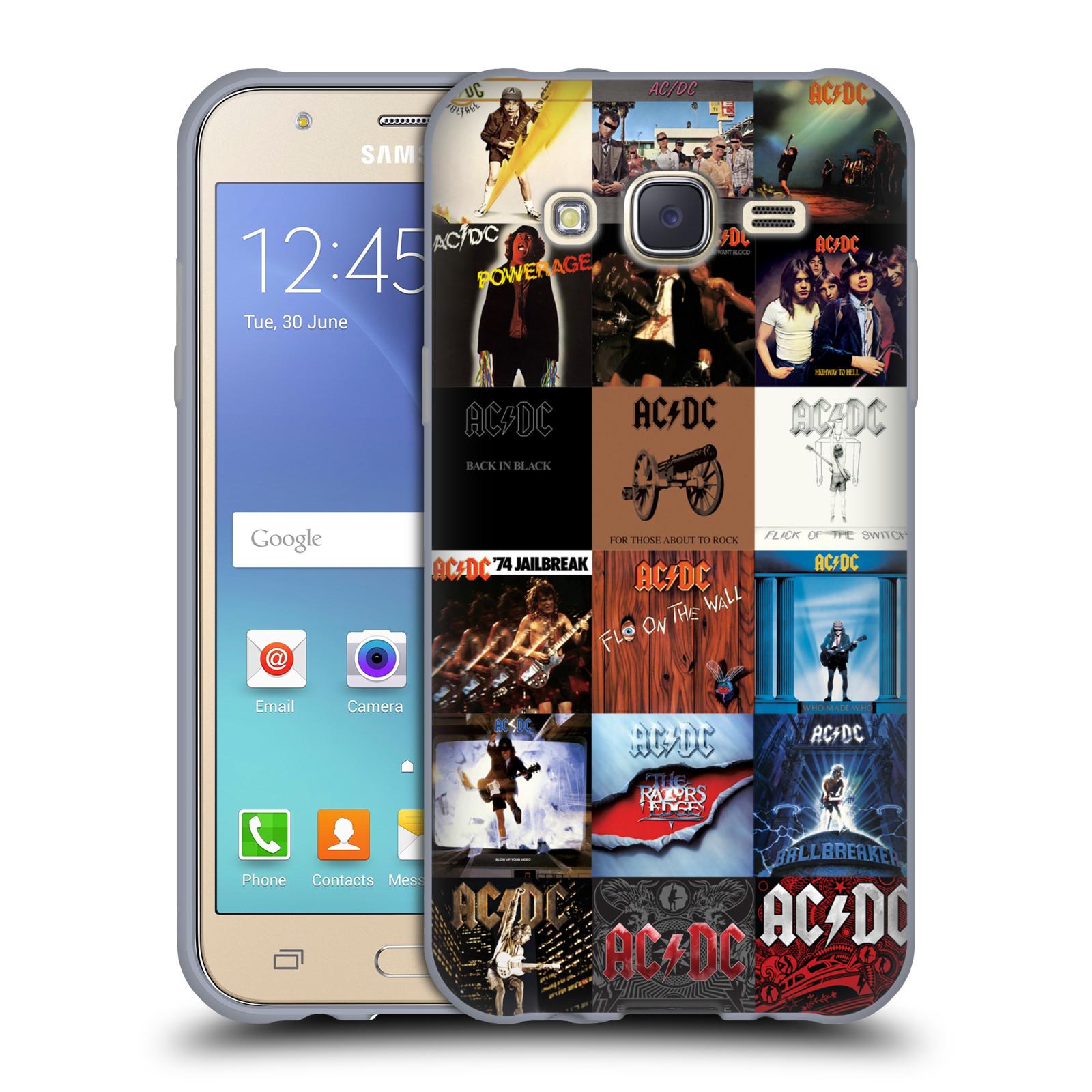 HEAD CASE silikonový obal na mobil Samsung Galaxy J5 2015 (J500) rocková skupina ACDC seznam alba