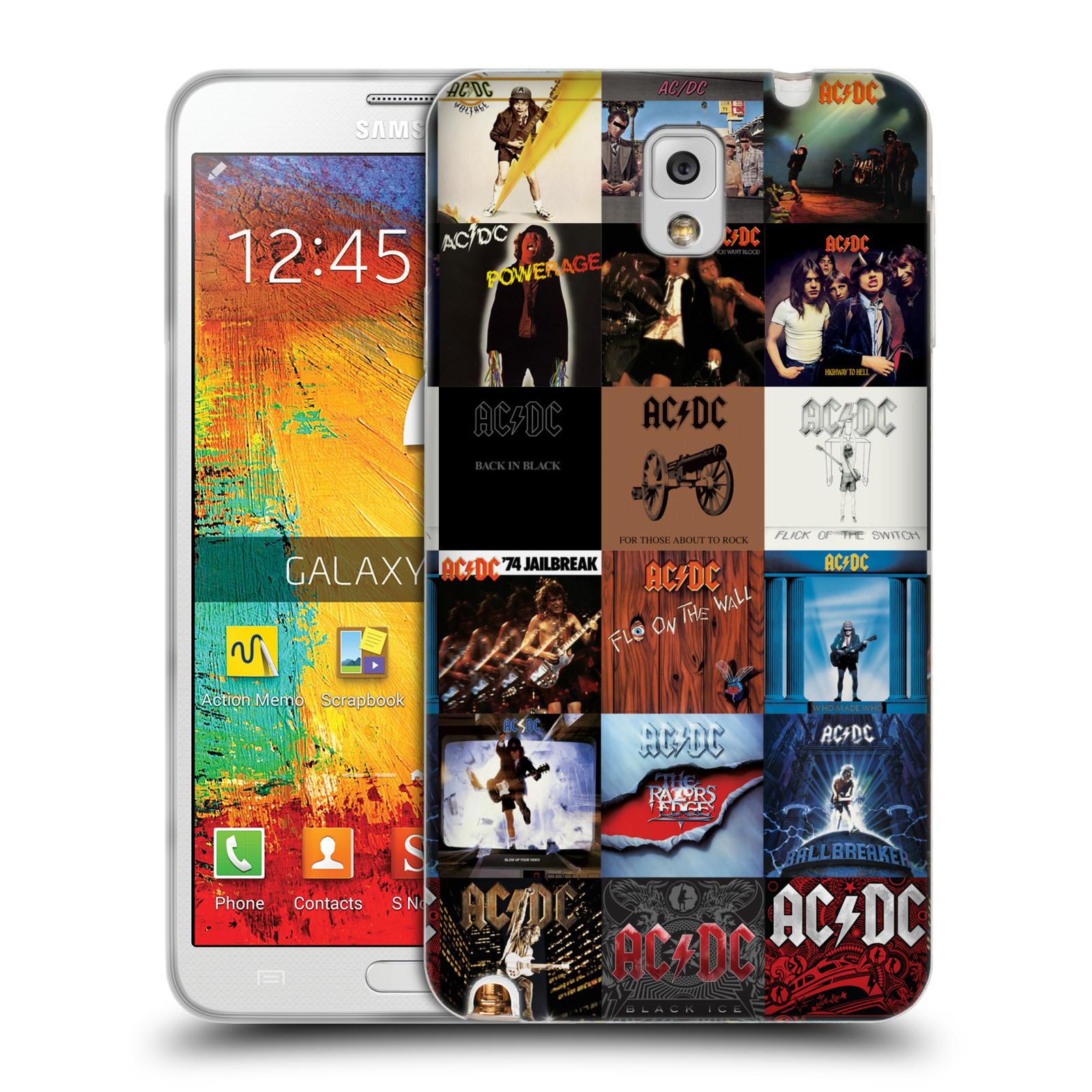 HEAD CASE silikonový obal na mobil Samsung Galaxy Note 3 rocková skupina ACDC seznam alba