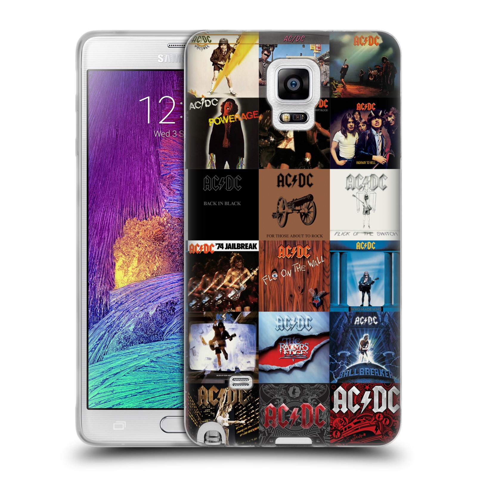 HEAD CASE silikonový obal na mobil Samsung Galaxy Note 4 rocková skupina ACDC seznam alba