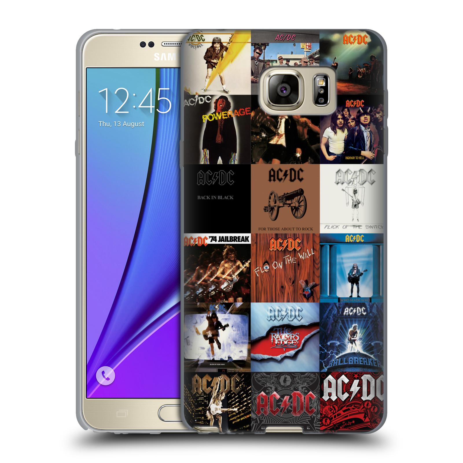 HEAD CASE silikonový obal na mobil Samsung Galaxy Note 5 rocková skupina ACDC seznam alba