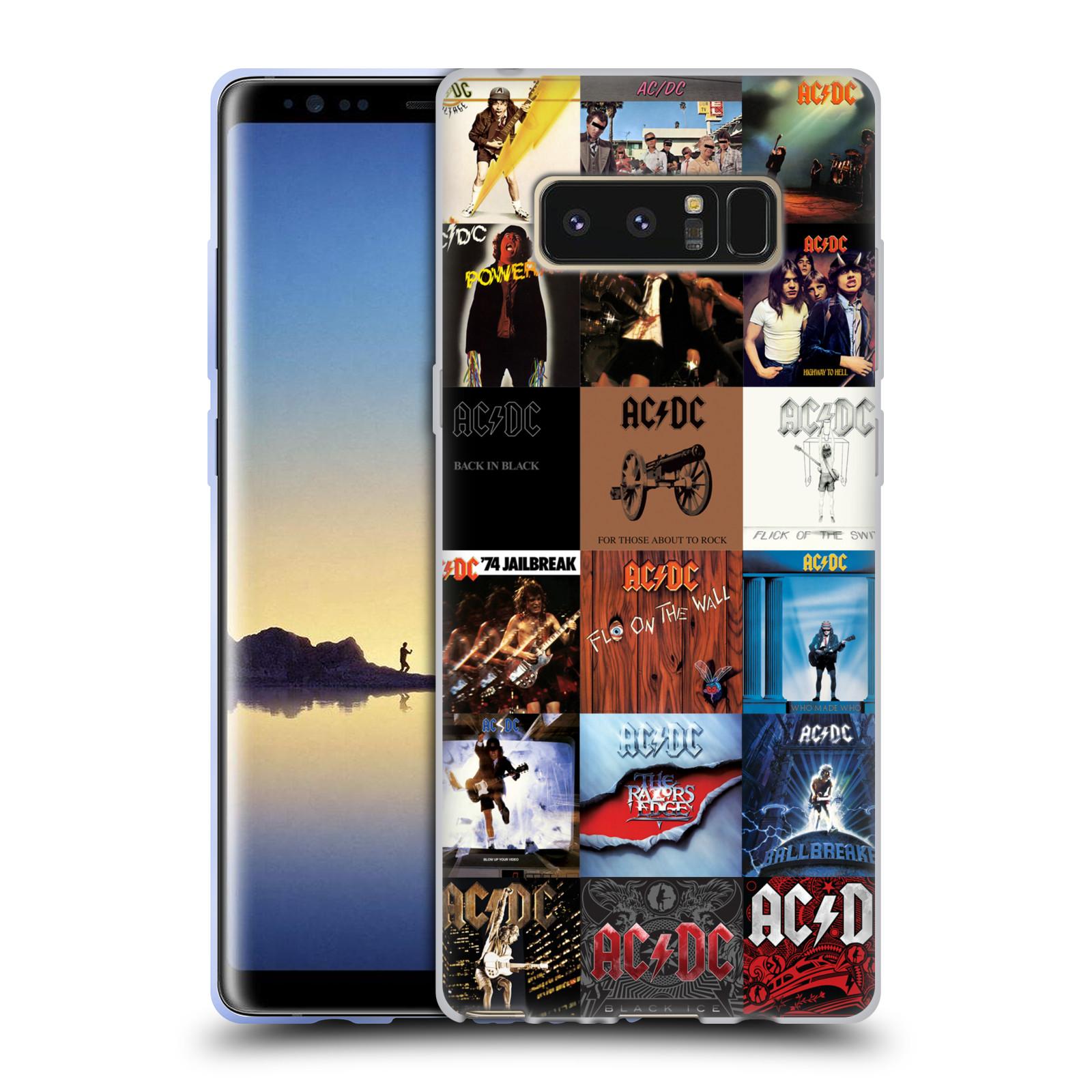 HEAD CASE silikonový obal na mobil Samsung Galaxy Note 8 rocková skupina ACDC seznam alba