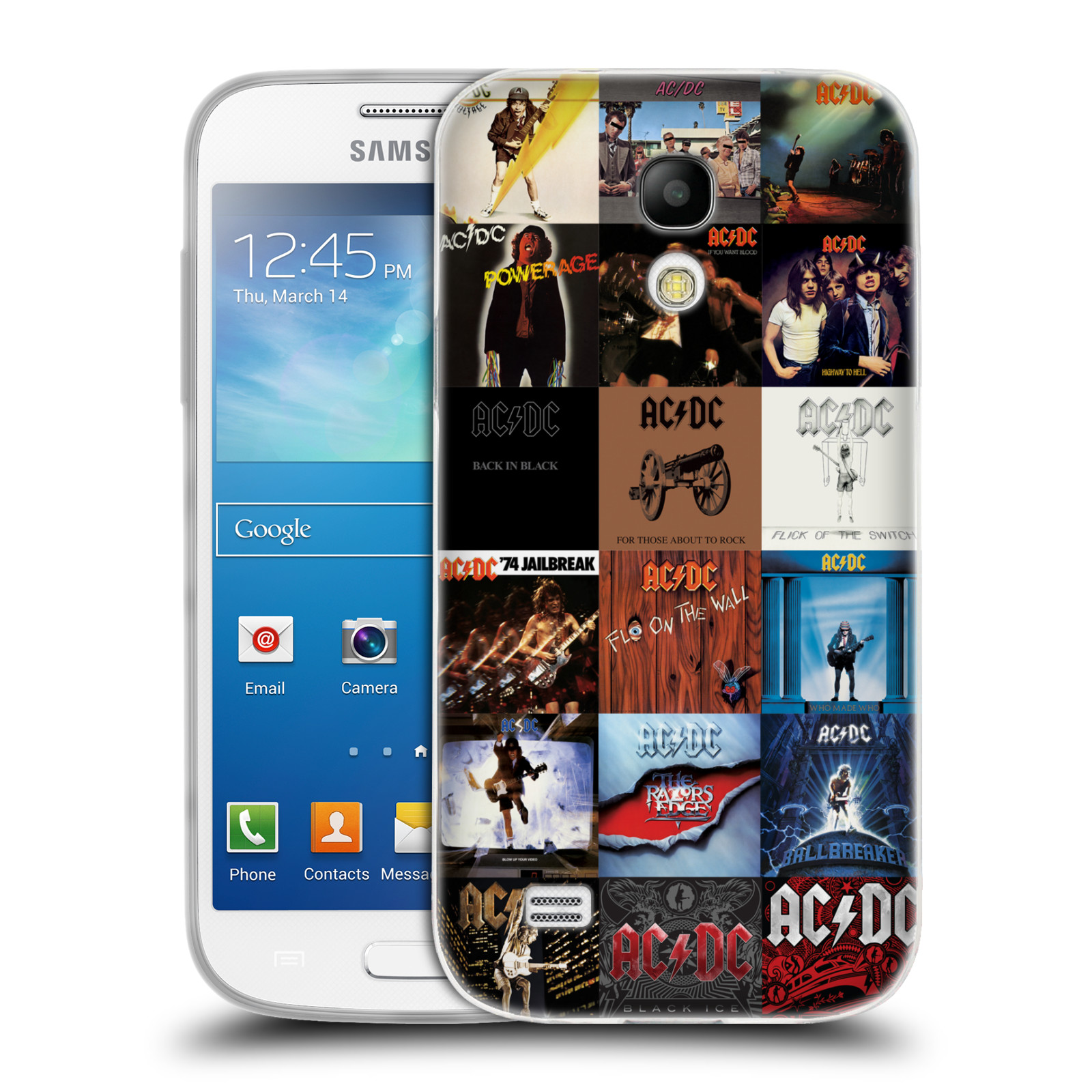 HEAD CASE silikonový obal na mobil Samsung Galaxy S4 MINI rocková skupina ACDC seznam alba