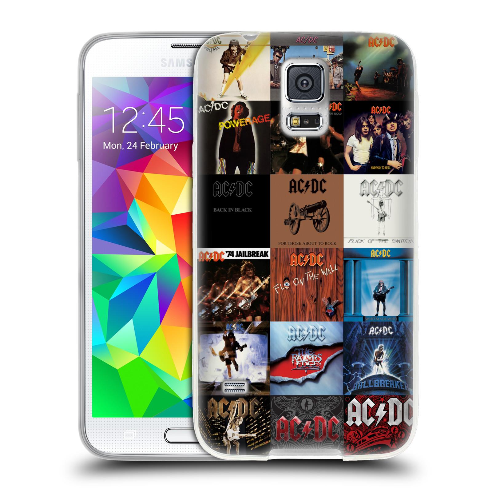 HEAD CASE silikonový obal na mobil Samsung Galaxy S5 rocková skupina ACDC seznam alba