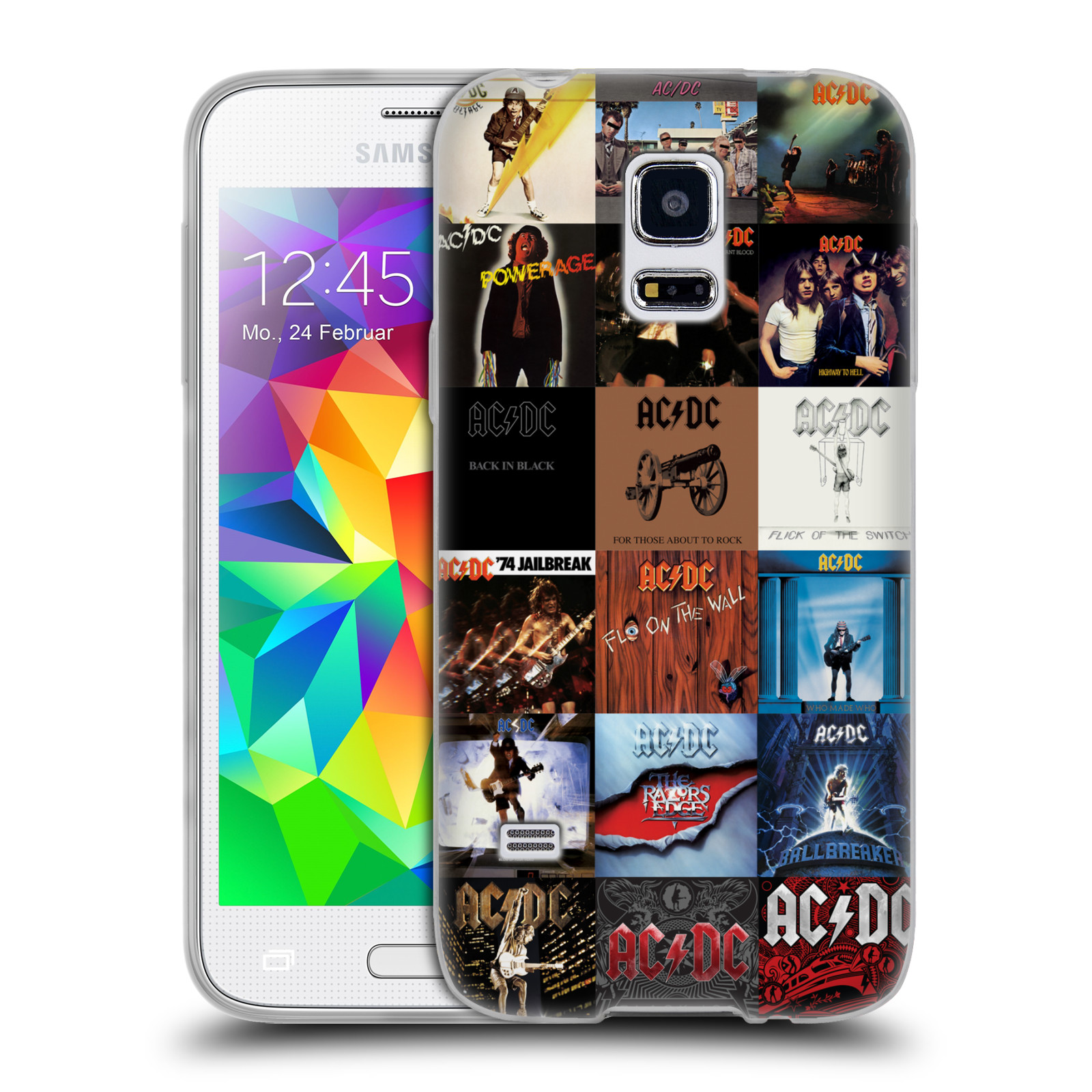 HEAD CASE silikonový obal na mobil Samsung Galaxy S5 MINI rocková skupina ACDC seznam alba