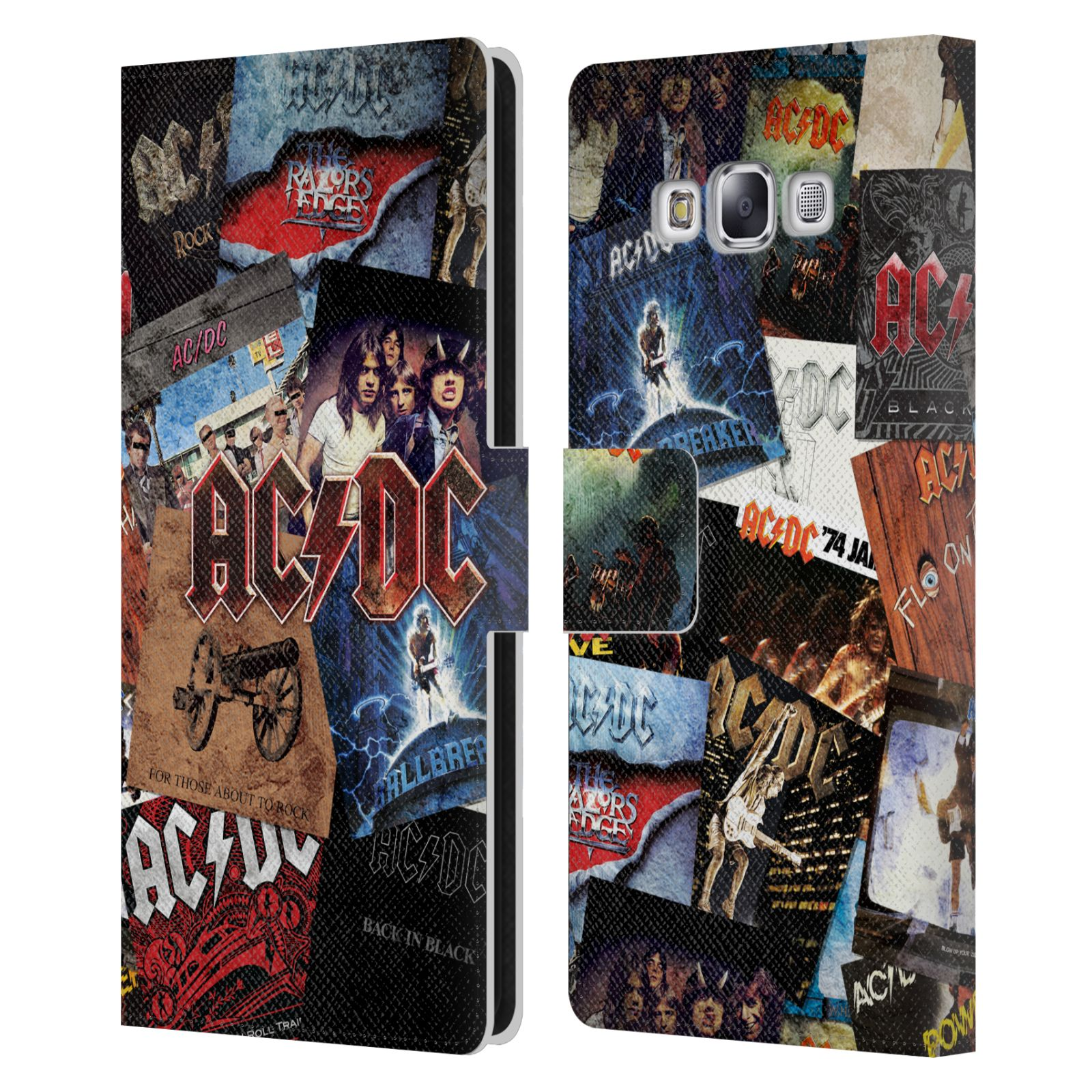 Book Cover Collage Zip ~ Official ac dc acdc collage leather book wallet case cover