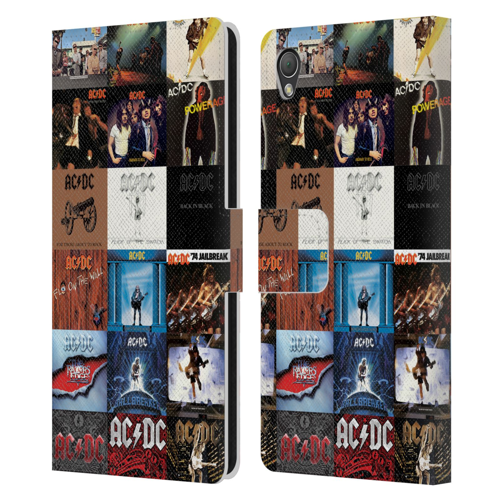 Book Cover Collage Zip : Official ac dc acdc collage leather book wallet case cover